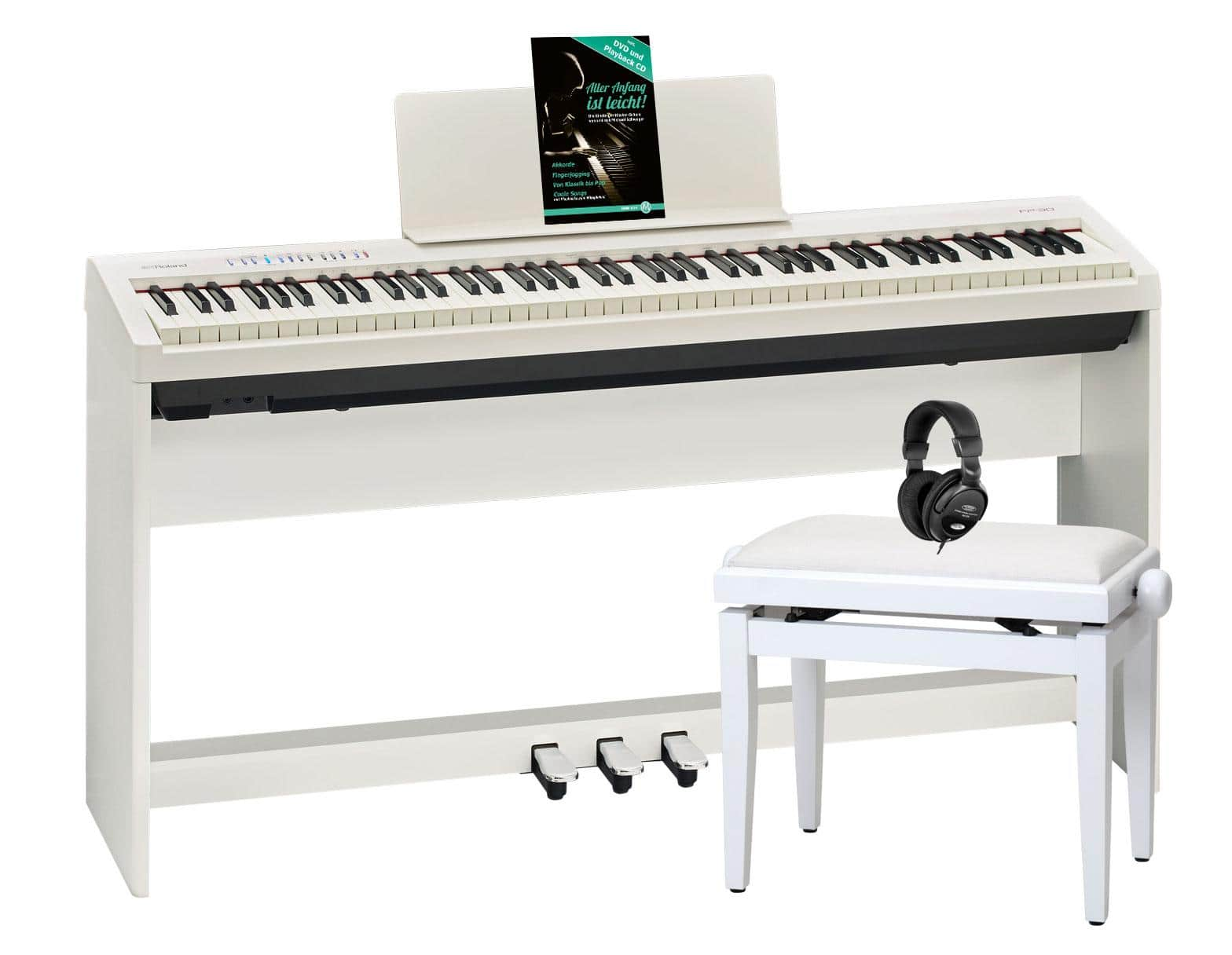 Roland FP 30 WH Stagepiano Home SET inkl. KSC 70 Ständer 3 fach Pedal