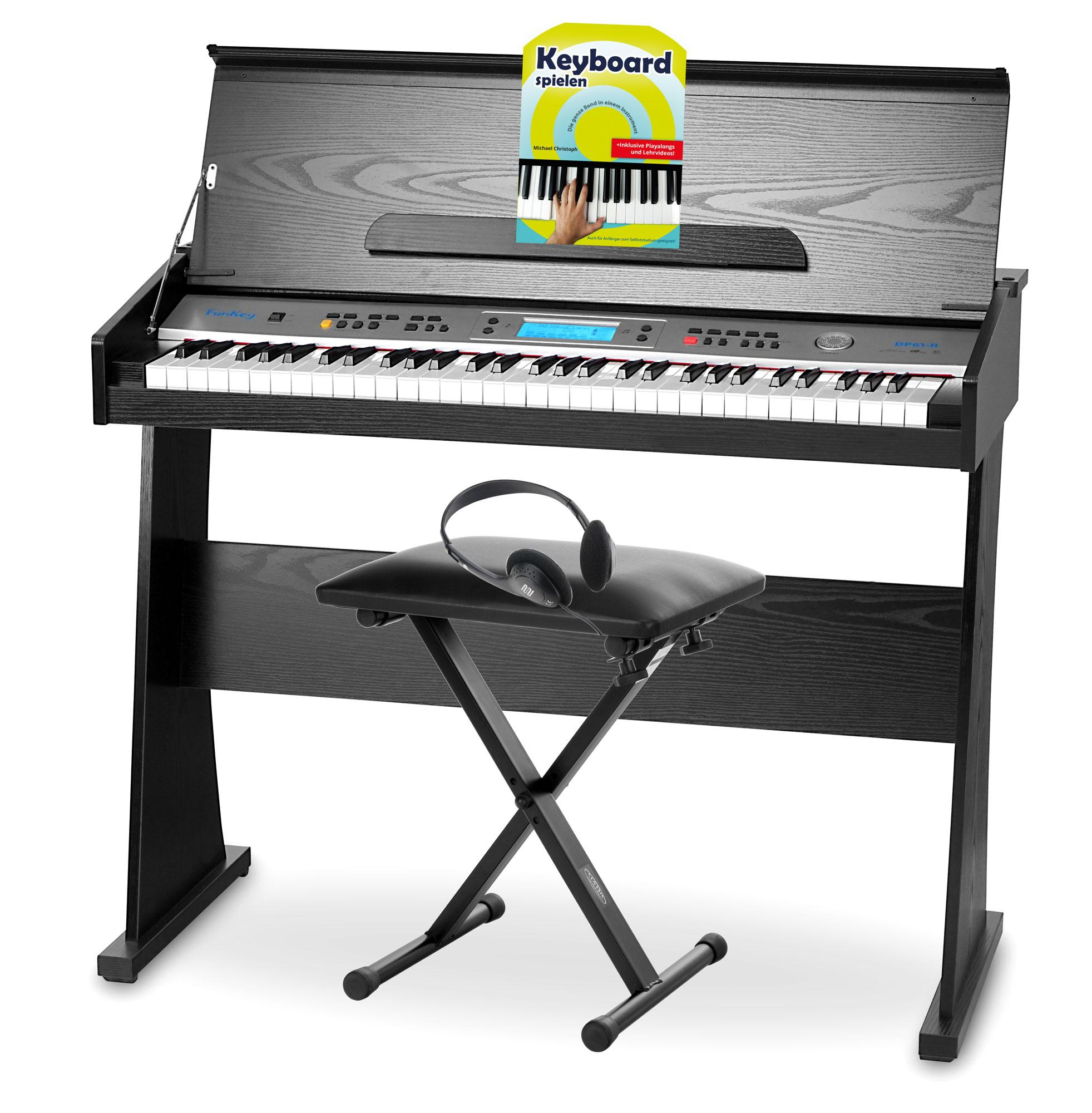 funkey dp 61 ii digitalpiano mit st nder schwarz set inkl bank kopfh rer pianoschule cd. Black Bedroom Furniture Sets. Home Design Ideas