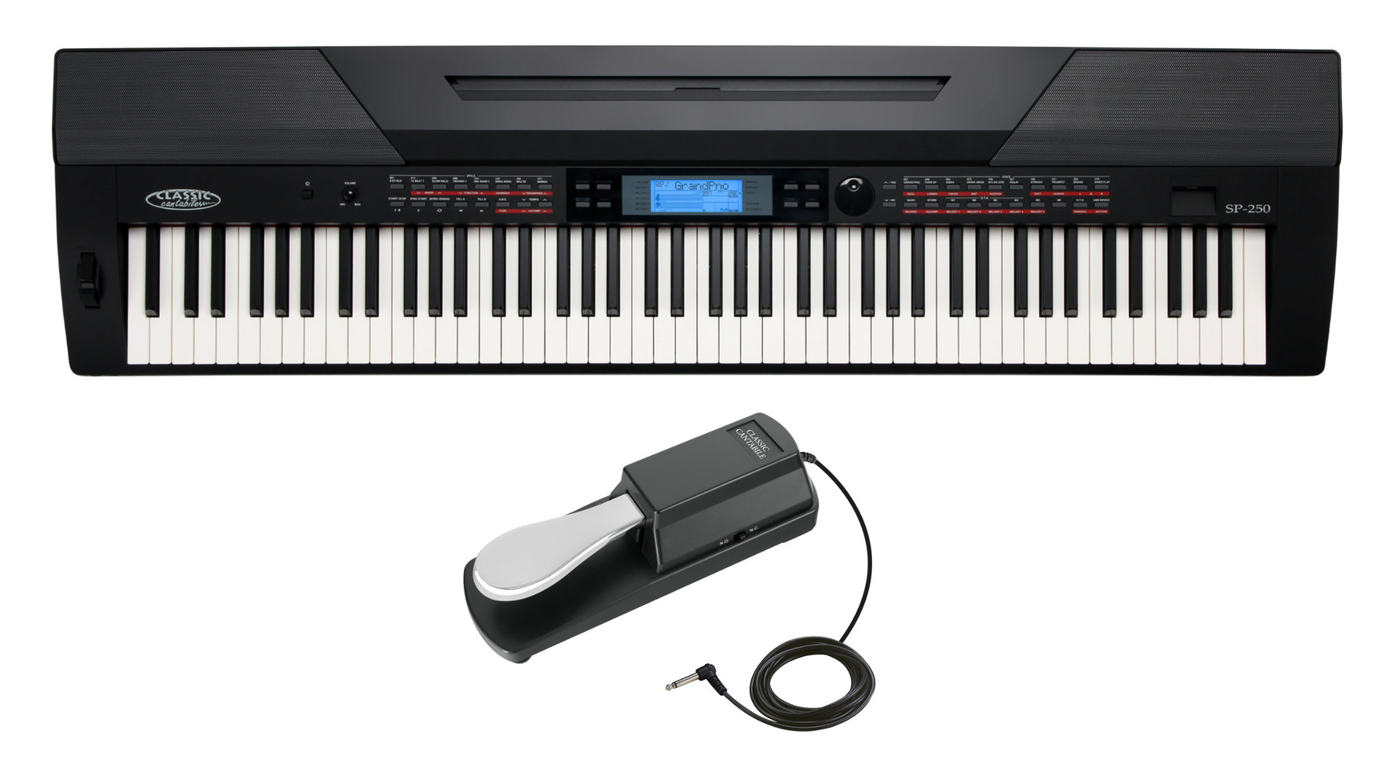 Classic Cantabile SP 250 BK Stagepiano schwarz SET inkl. Pedal