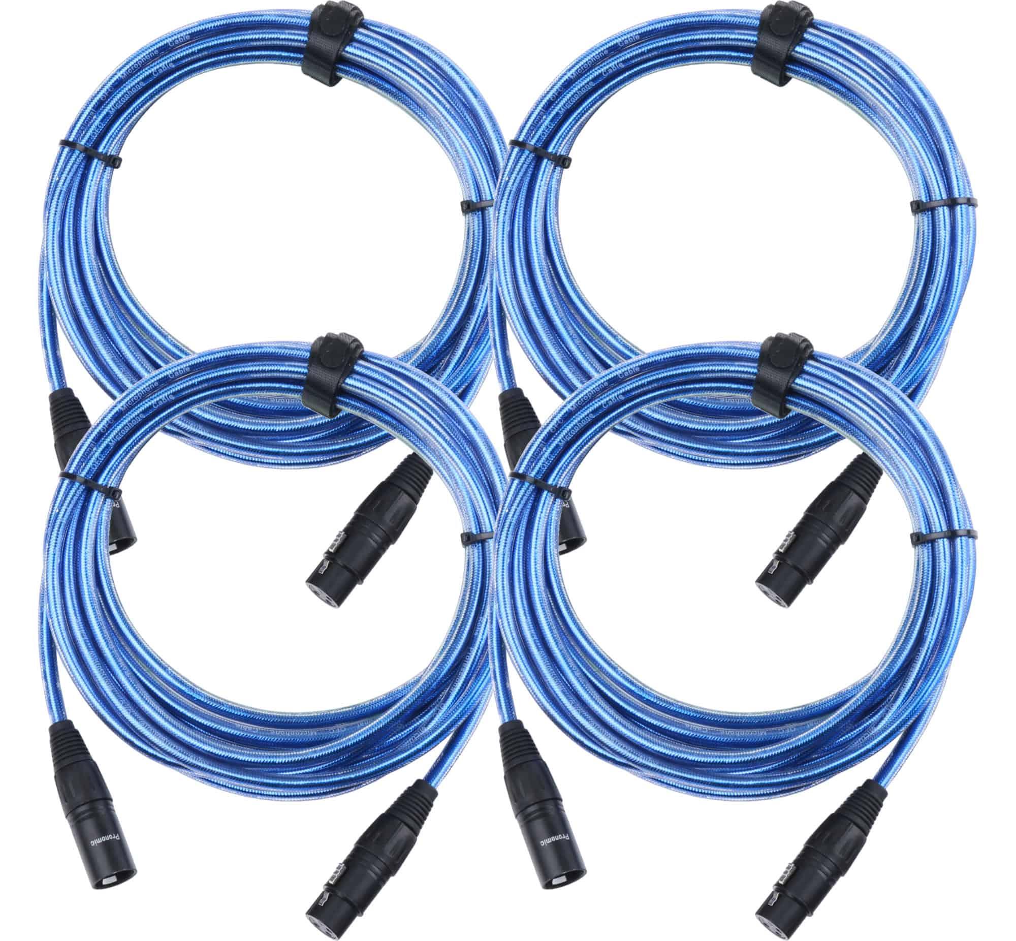 4er Set Pronomic Stage XFXM Blue 5 Mikrofonkabel XLR 5 m Metallic Blue