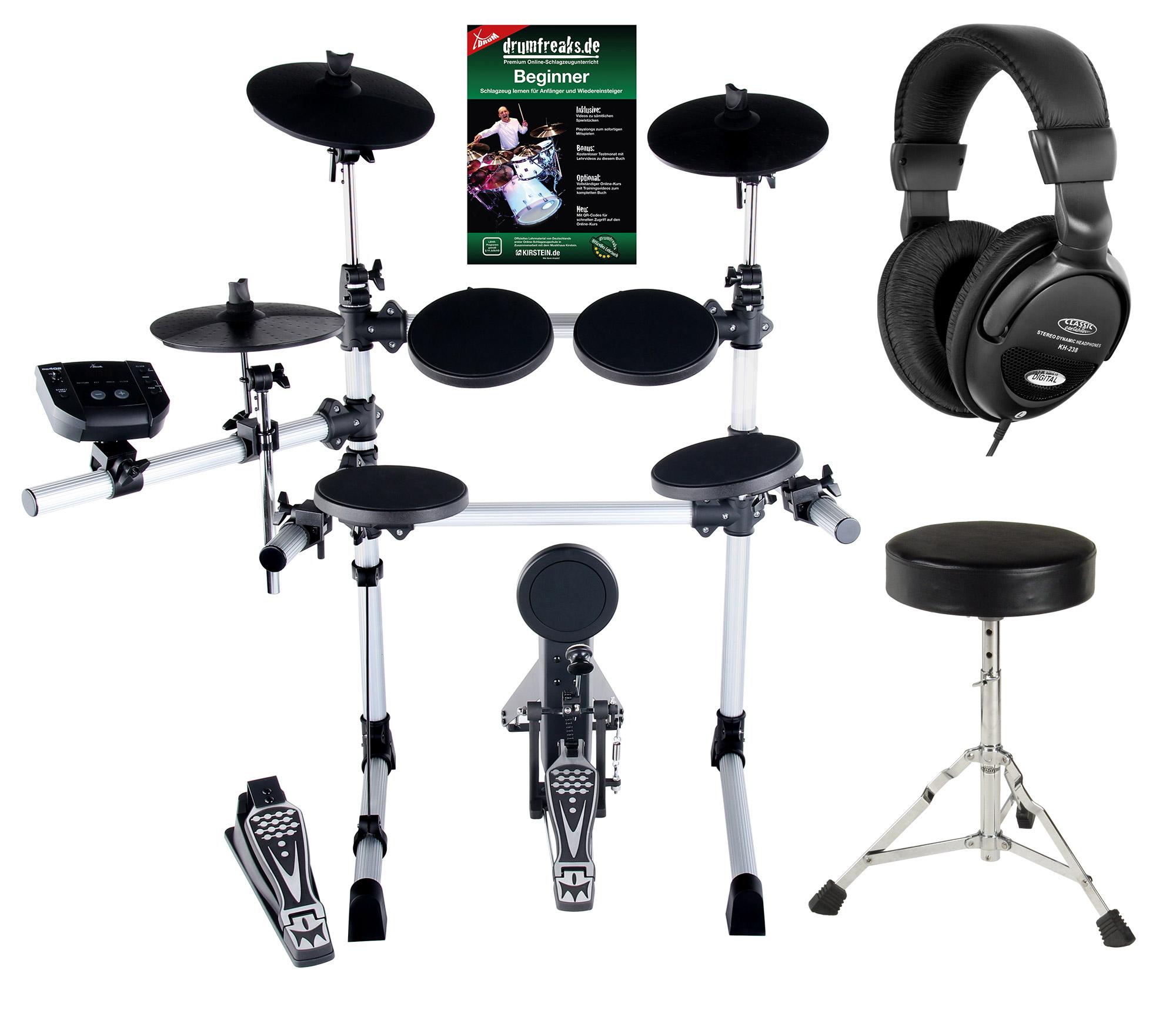 XDrum DD 402 E Drum Set Komplettset inkl. Hocker Kopfhörer
