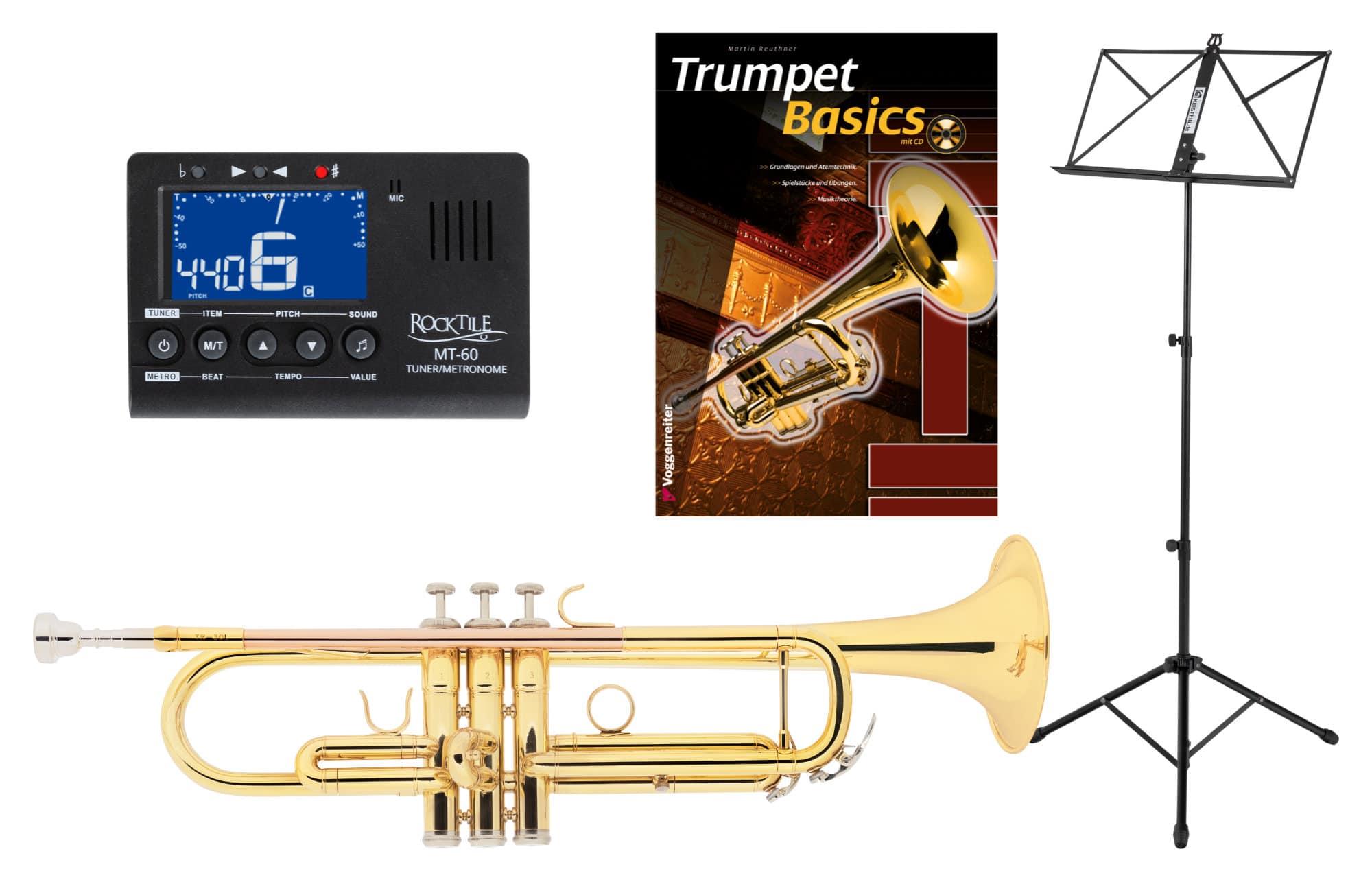 Trompeten - Classic Cantabile TR 30L B Trompete Set mit Stimmgerät|Metronom, Notenständer und Trompetenschule - Onlineshop Musikhaus Kirstein