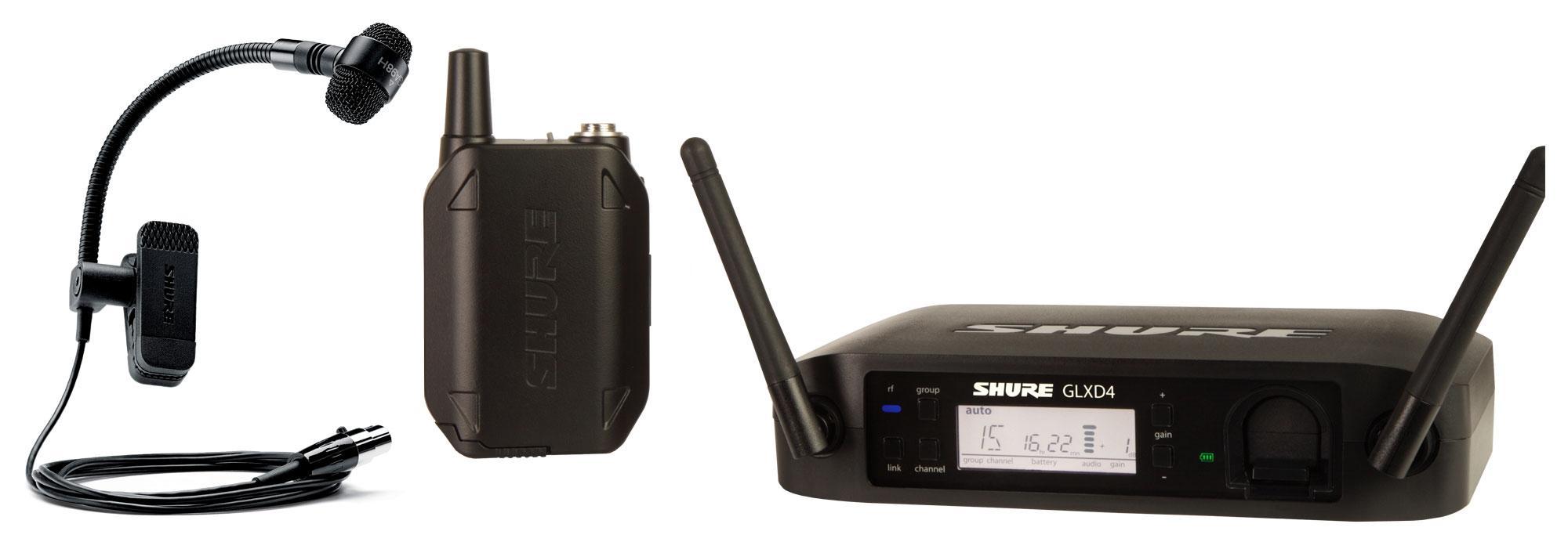 Shure GLXD14|P98H Digitales Funksystem mit PGA98H Instrumenten Clip Mikrofon