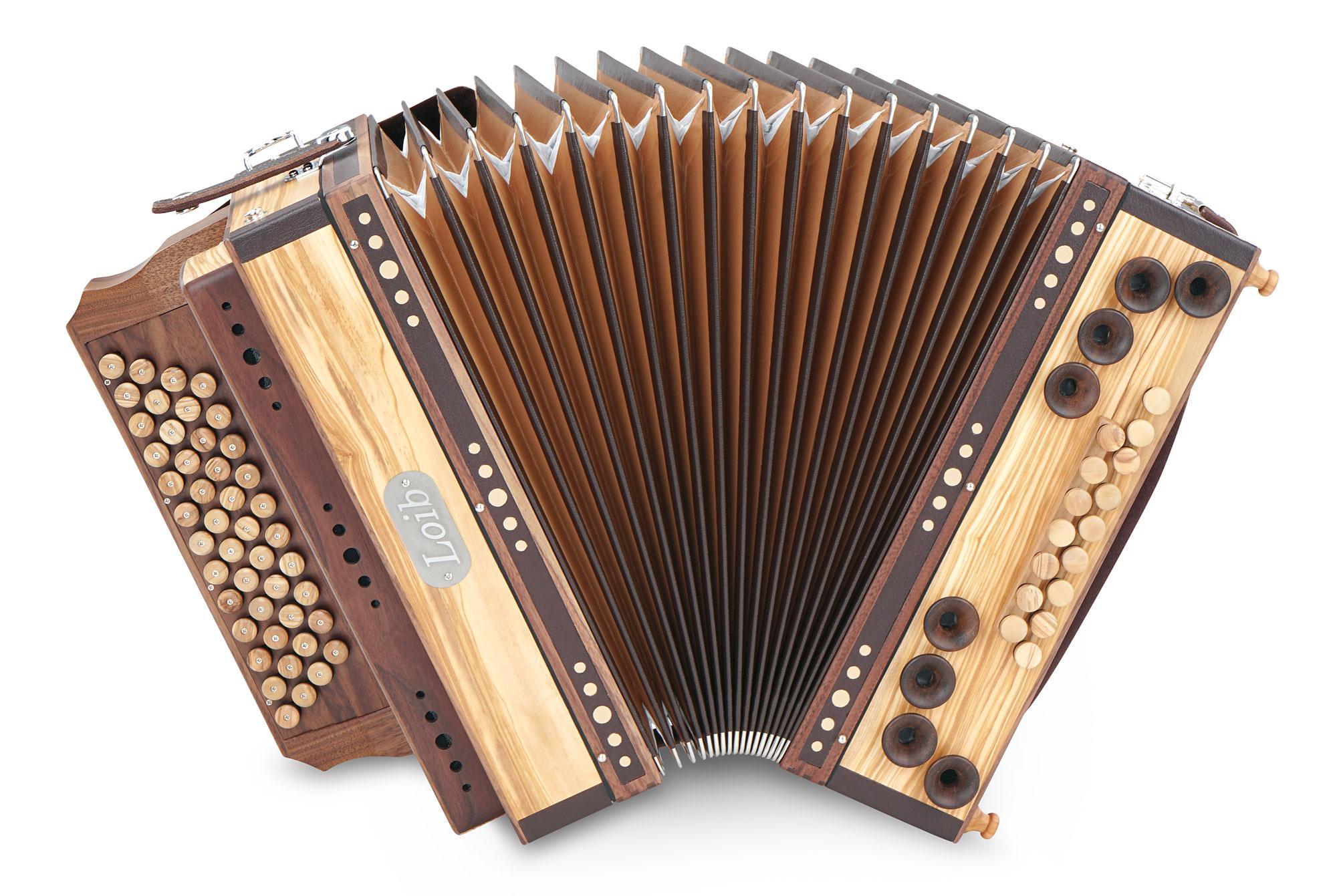 Loib Harmonika IVD Olive G C F B H Bass X Bass Holzverdeck