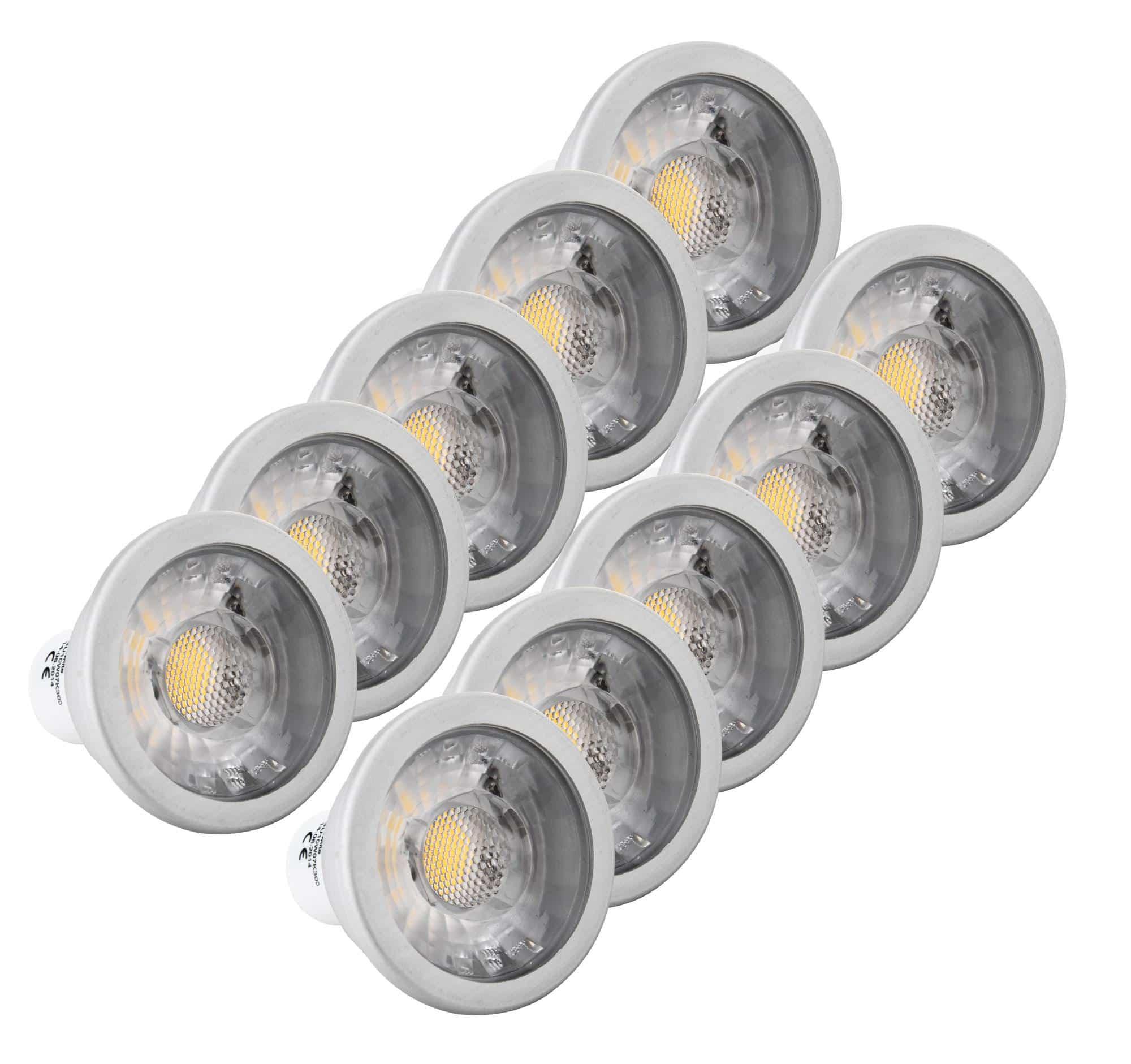 10 piece set showlite led spot cob gu10w07k30d 7 watt 550 lumens gu10 3000k dimmable. Black Bedroom Furniture Sets. Home Design Ideas