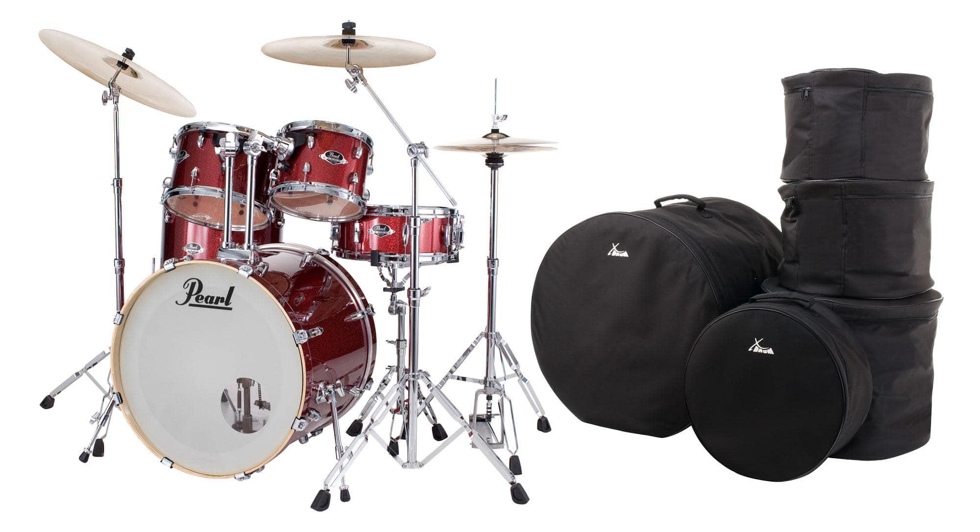 Pearl Export EXX705NBR|C704 Drumkit Black Cherry Glitter Set mit Taschen