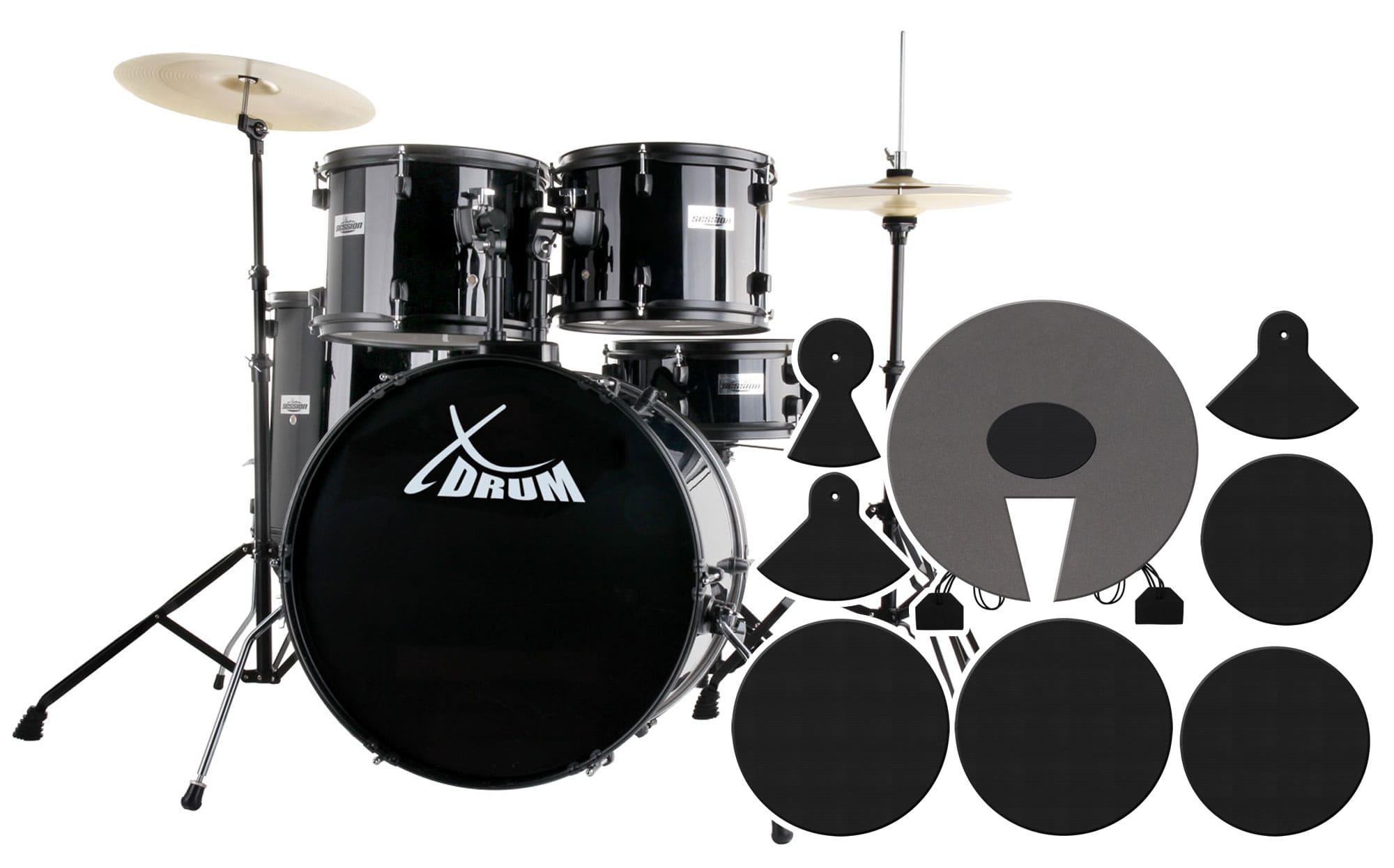 XDrum Rookie 22' Standard Schlagzeug Black plus Dämpferset
