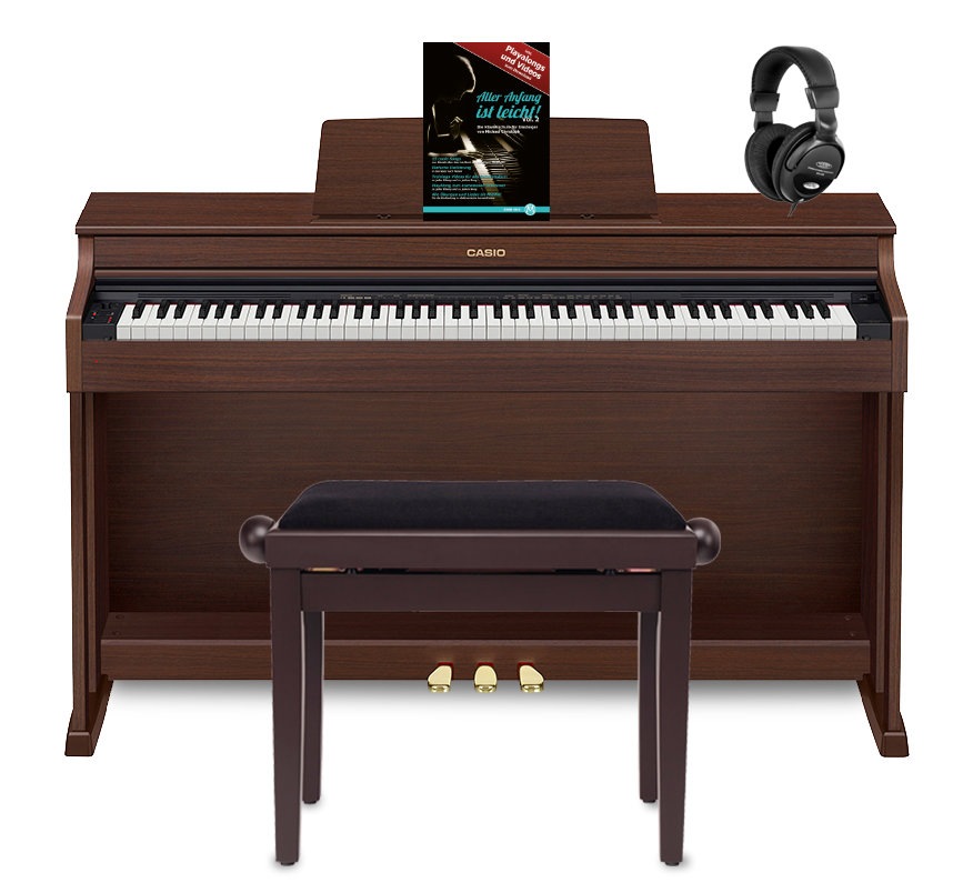 Casio Celviano AP 470 Digitalpiano, Braun Set inkl. Pianobank, Kopfhörer Klavierschule
