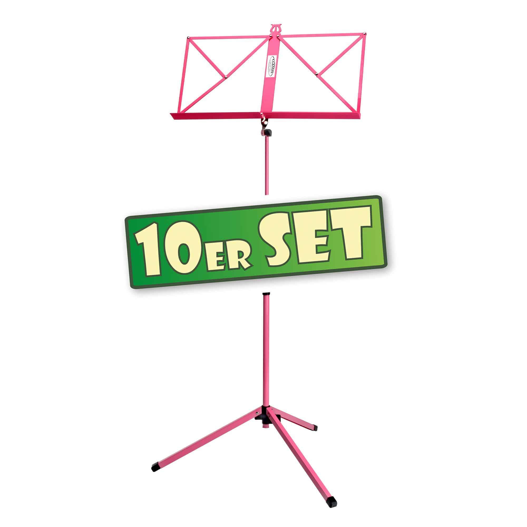 10er Set Classic Cantabile 100 Notenständer mittelschwer Pink