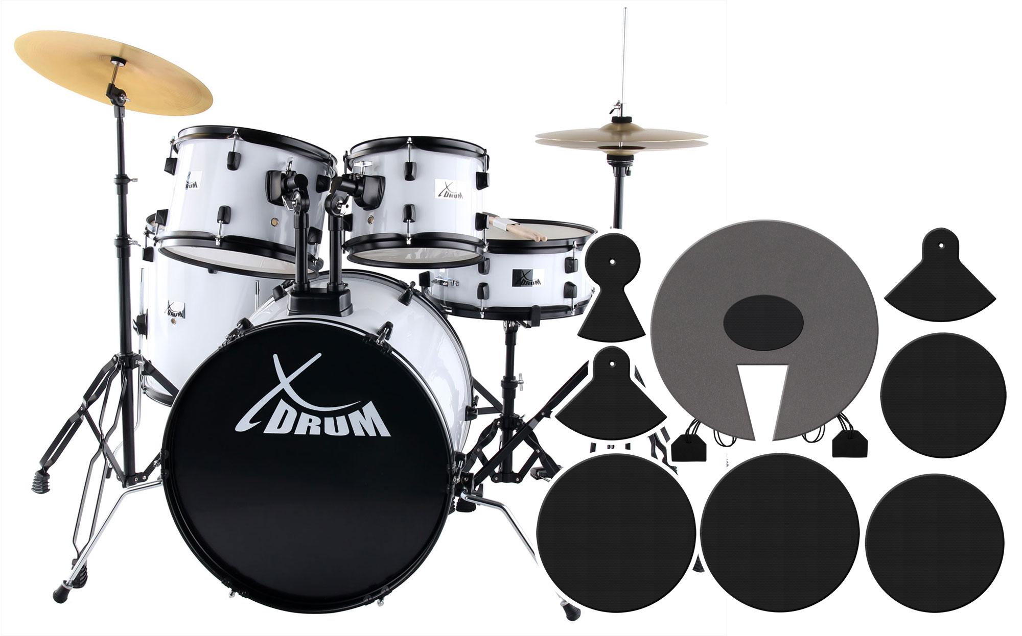 XDrum Rookie 20' Studio Schlagzeug White plus Dämpferset