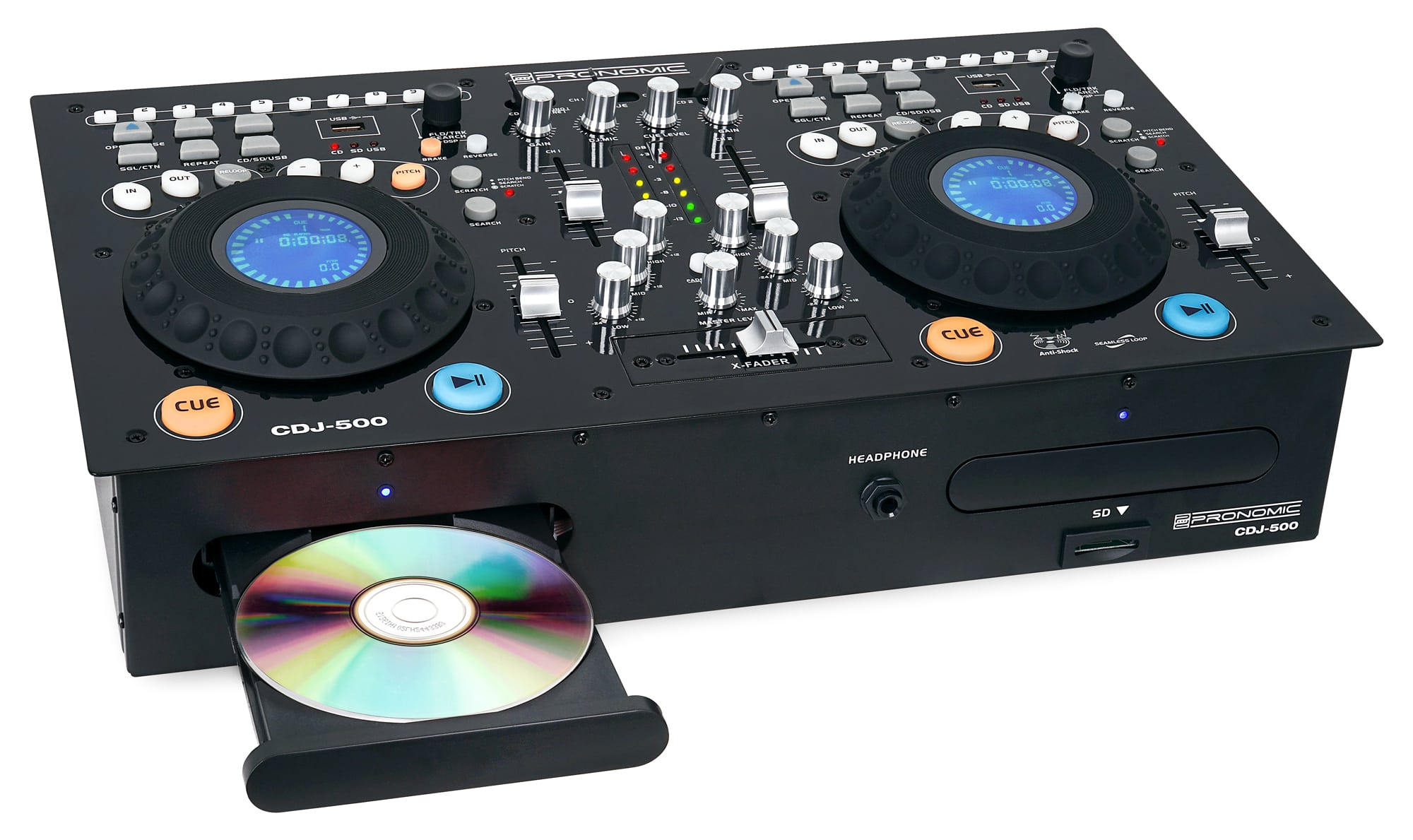 Pronomic Doppel DJ CD Player USB SD MP3 Mixer Pitch Scratch Effekt ...