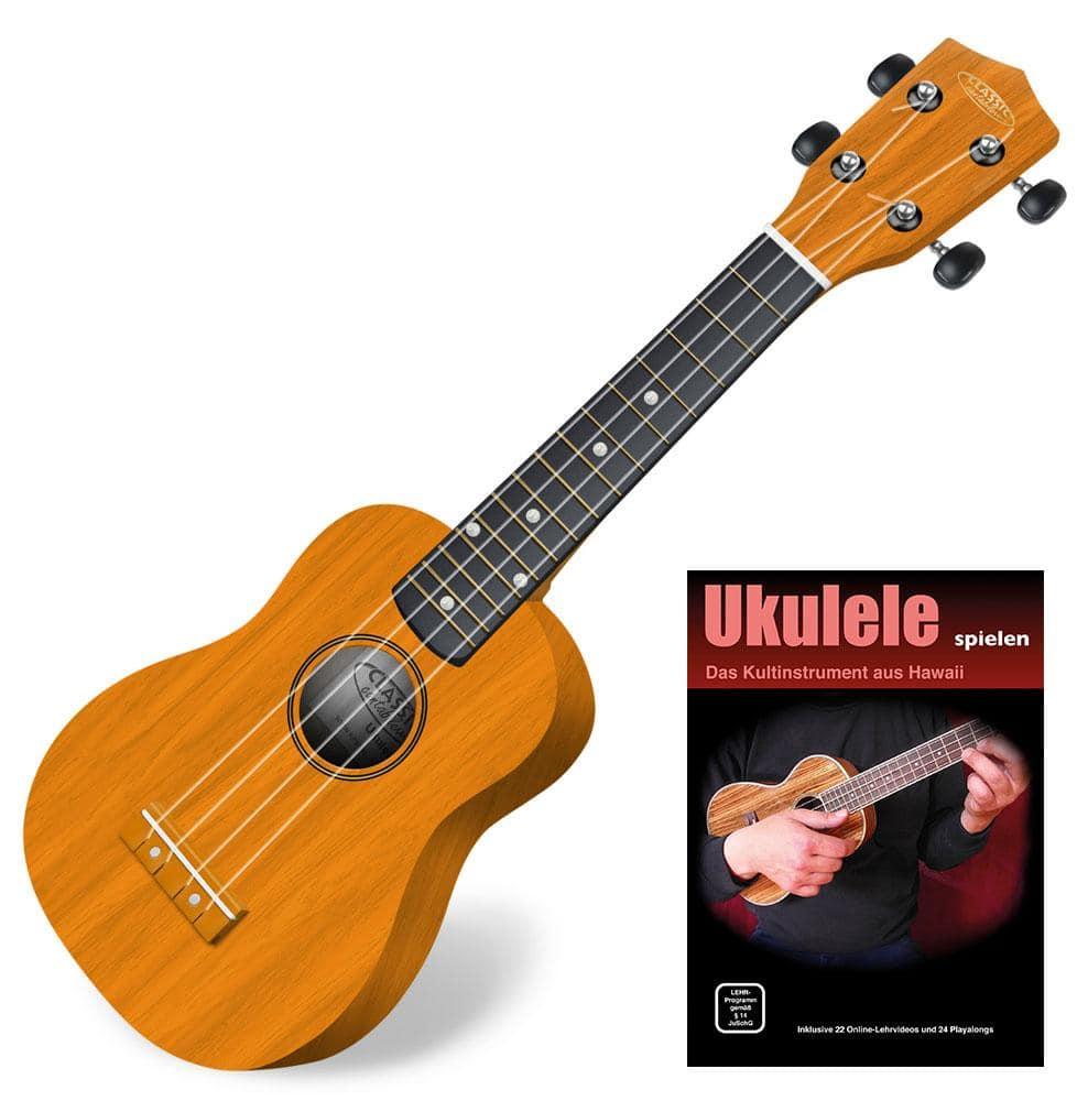 Classic Cantabile US 100 NAT Sopran Ukulele Natur SET inkl. Lernheft CD