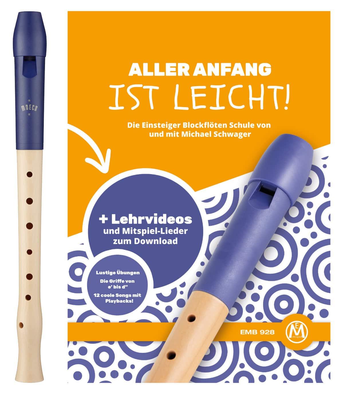 Moeck Blockflöte 1024 Flauto 1 Plus Barock inkl. Flötenschule