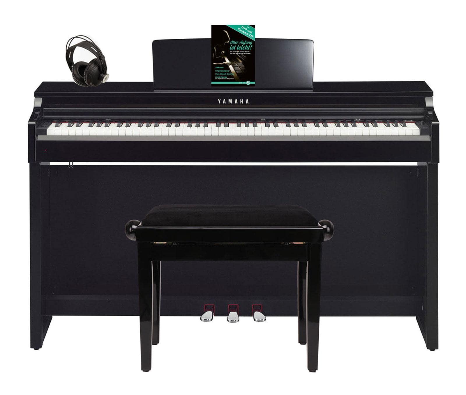 Yamaha CLP 625 PE Digitalpiano schwarz hochgl. SET mit Kopfhörer, Bank, Schule