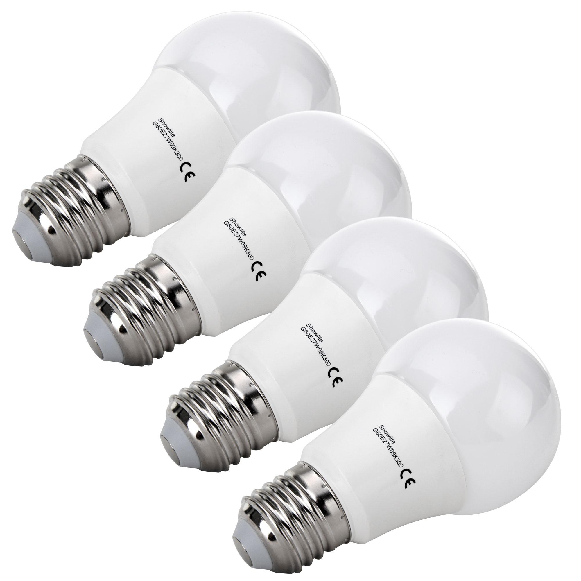 four piece set showlite led bulb g60e27w09k30d 9 watt 860. Black Bedroom Furniture Sets. Home Design Ideas