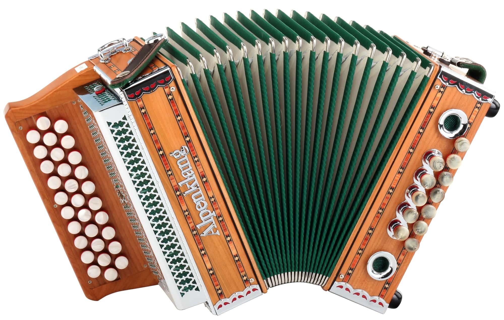 Alpenklang Harmonika 'Mini' 3 reihig, G C F massiv aus Kirschholz