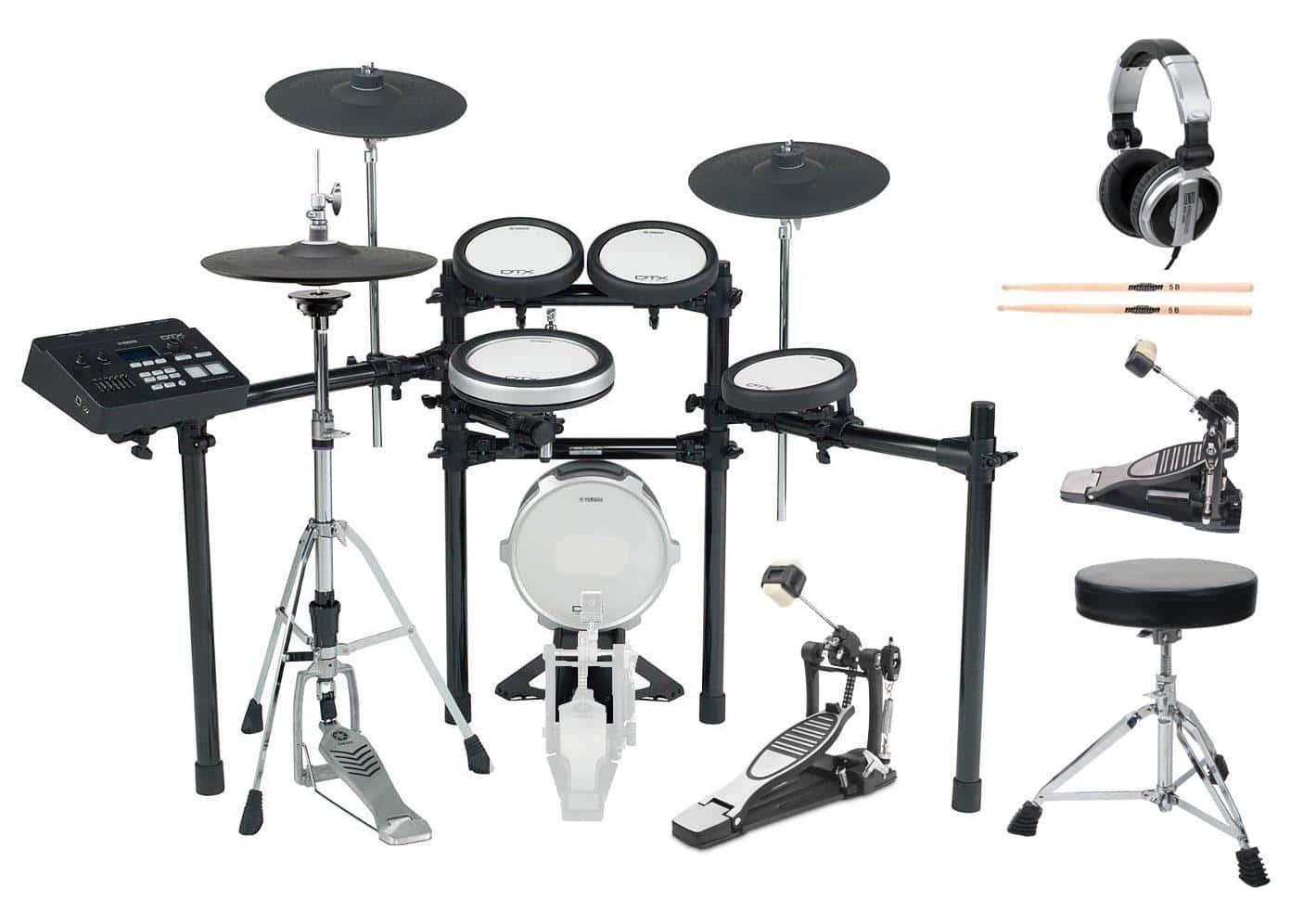 Yamaha DTX720k E Drum Kit SET 1 mit Fußmaschine, Hocker, Sticks, Kopfhörer