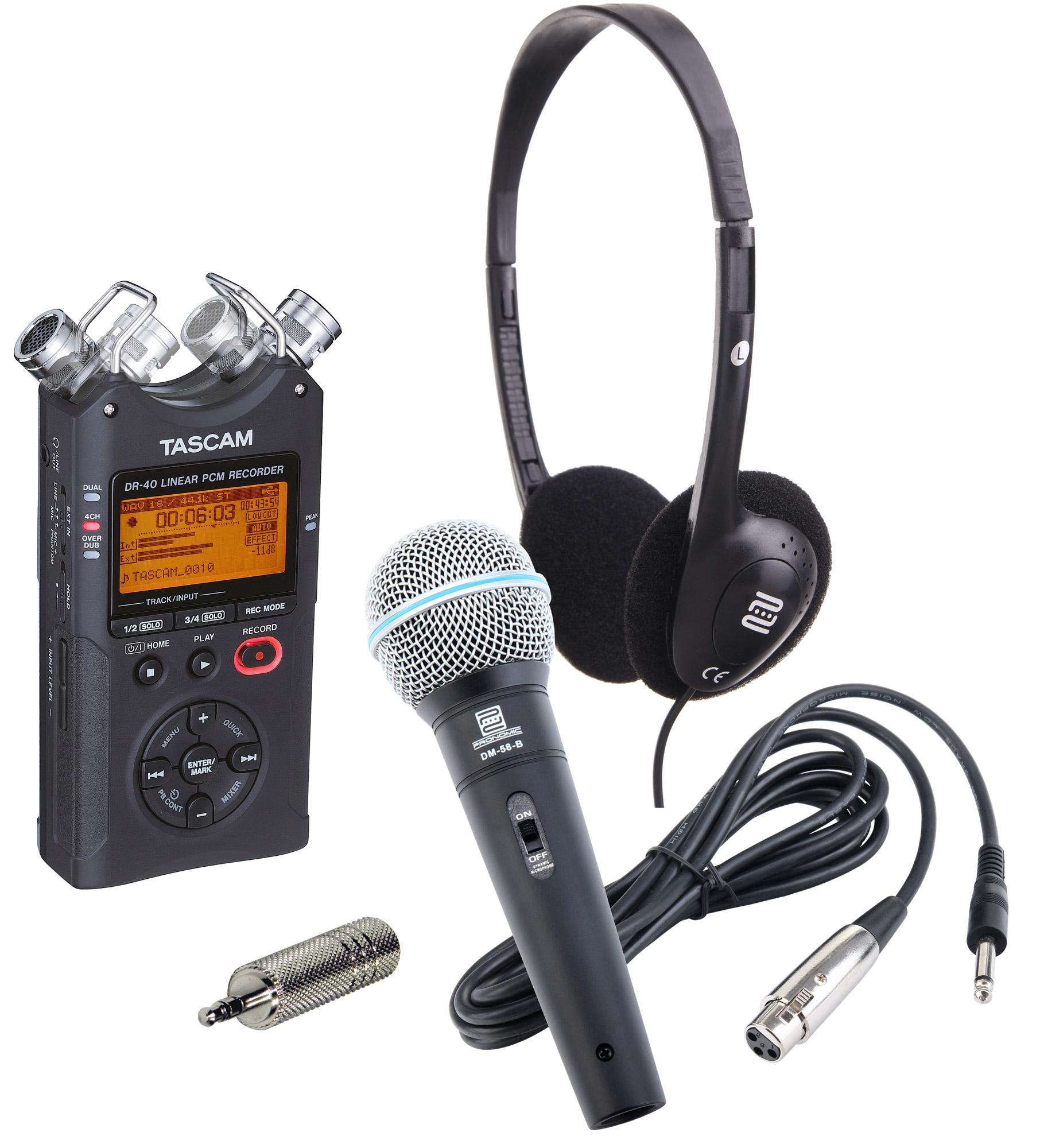 Tascam DR 40 Linear PCM|MP3 Recorder Set