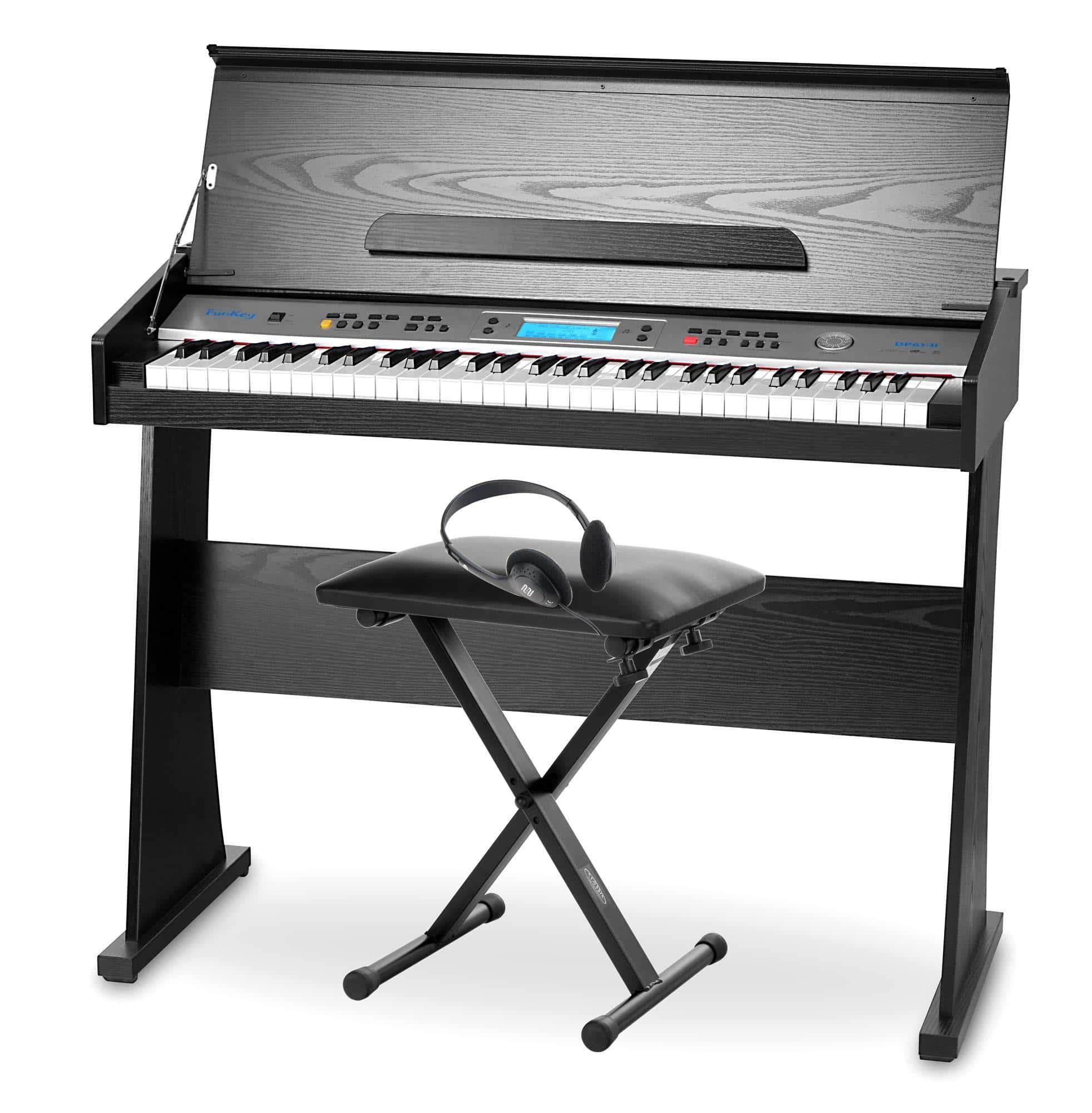 FunKey DP 61 II Keyboard mit 61 Tasten im Digitalpiano Design SET inkl. Bank Kopfhörer