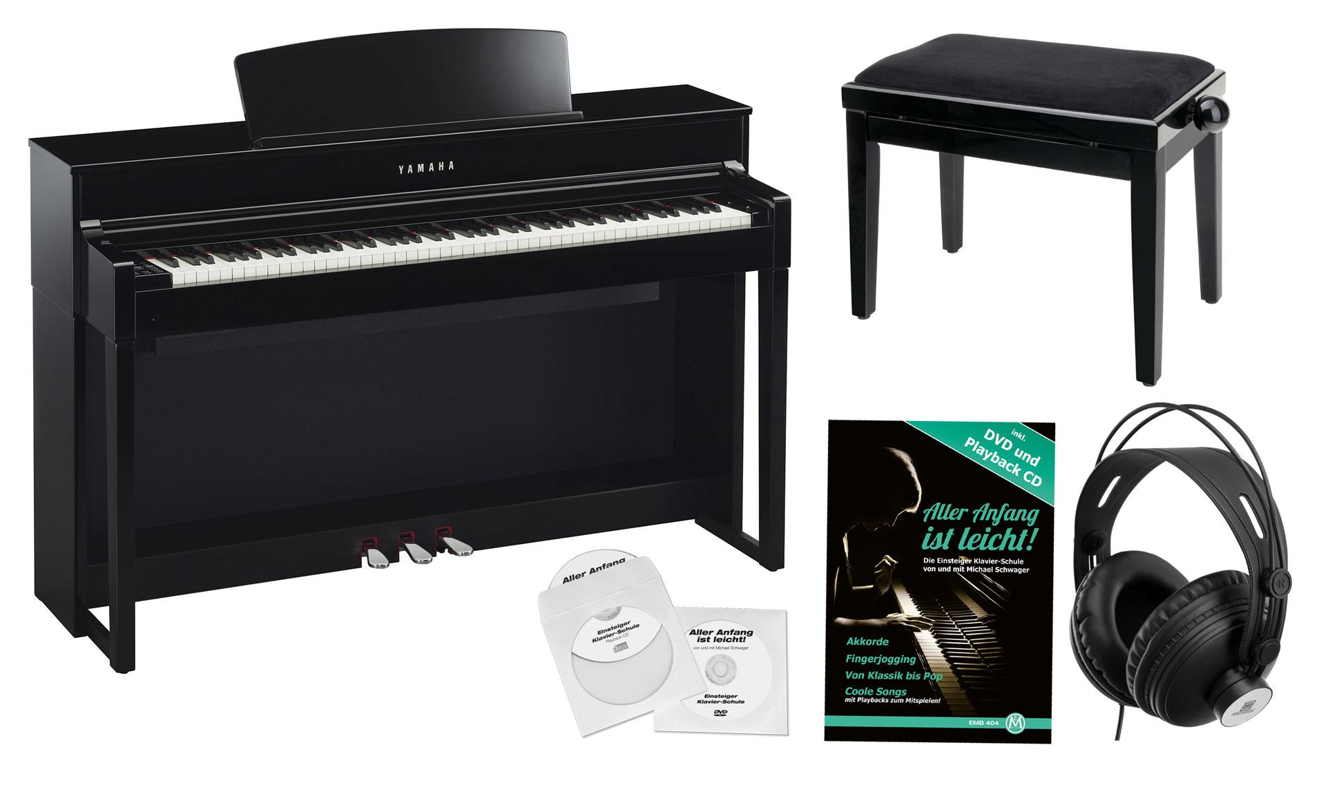 yamaha clp 575 pe digitalpiano schwarz hochglanz set. Black Bedroom Furniture Sets. Home Design Ideas