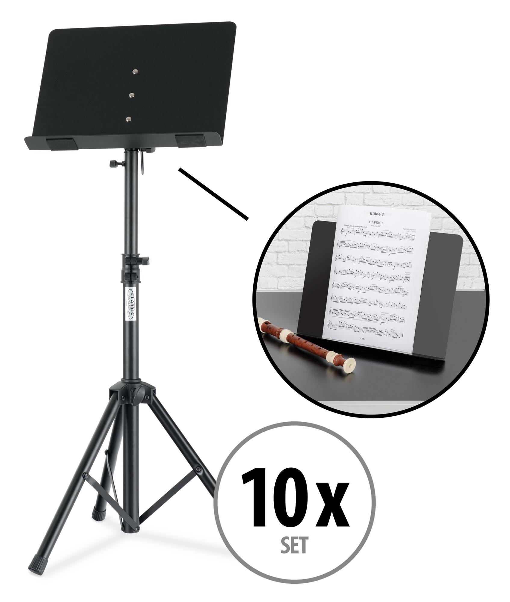 Musikerzubehoer - 10x Classic Cantabile OST 350 2 in 1 Notenpult Set - Onlineshop Musikhaus Kirstein