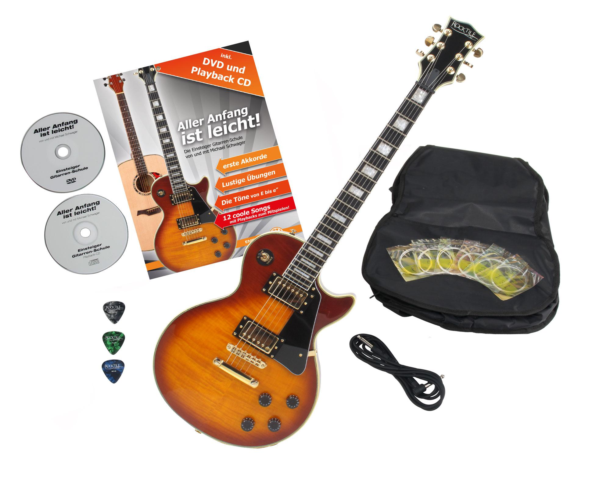Rocktile Pro L 200OHB E Gitarre Orange Honey Burst mit Zubehör