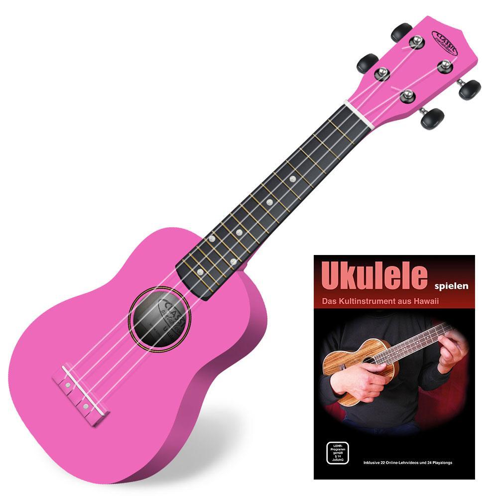Classic Cantabile US 100 PK Sopran Ukulele Pink SET inkl. Lernheft CD