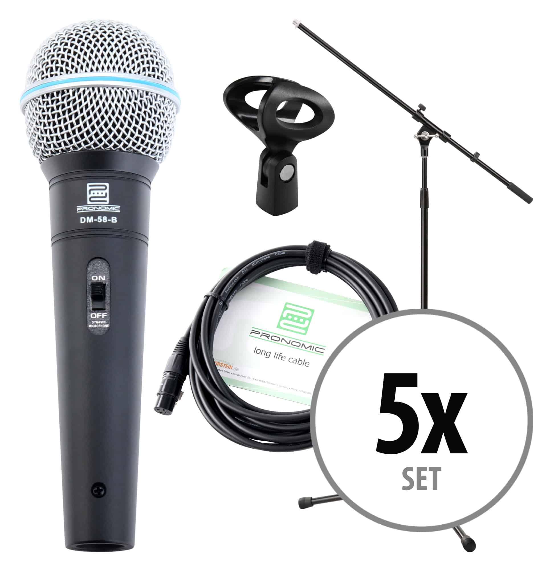 Mikrofone - Pronomic DM 58 B Vocal Mikrofon Starter Set 5x Mikro, XLR Kabel, Klemme, Stativ - Onlineshop Musikhaus Kirstein