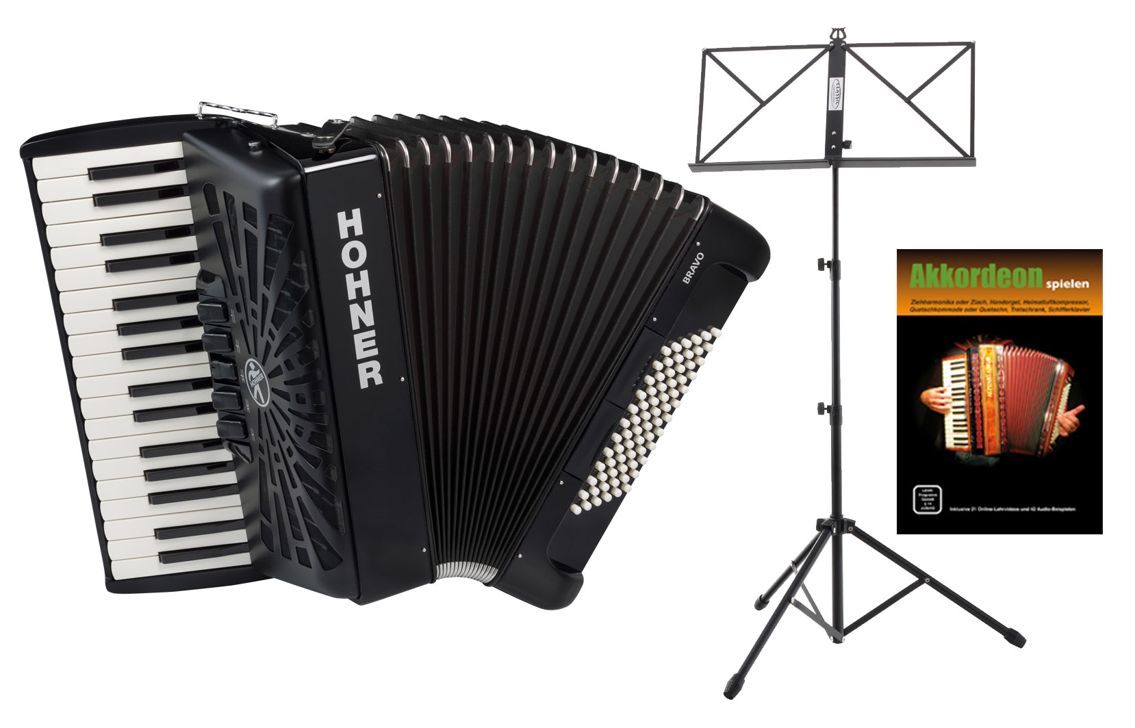Akkordeons - Hohner Bravo III 72 SilentKey Schwarz Starter Set - Onlineshop Musikhaus Kirstein