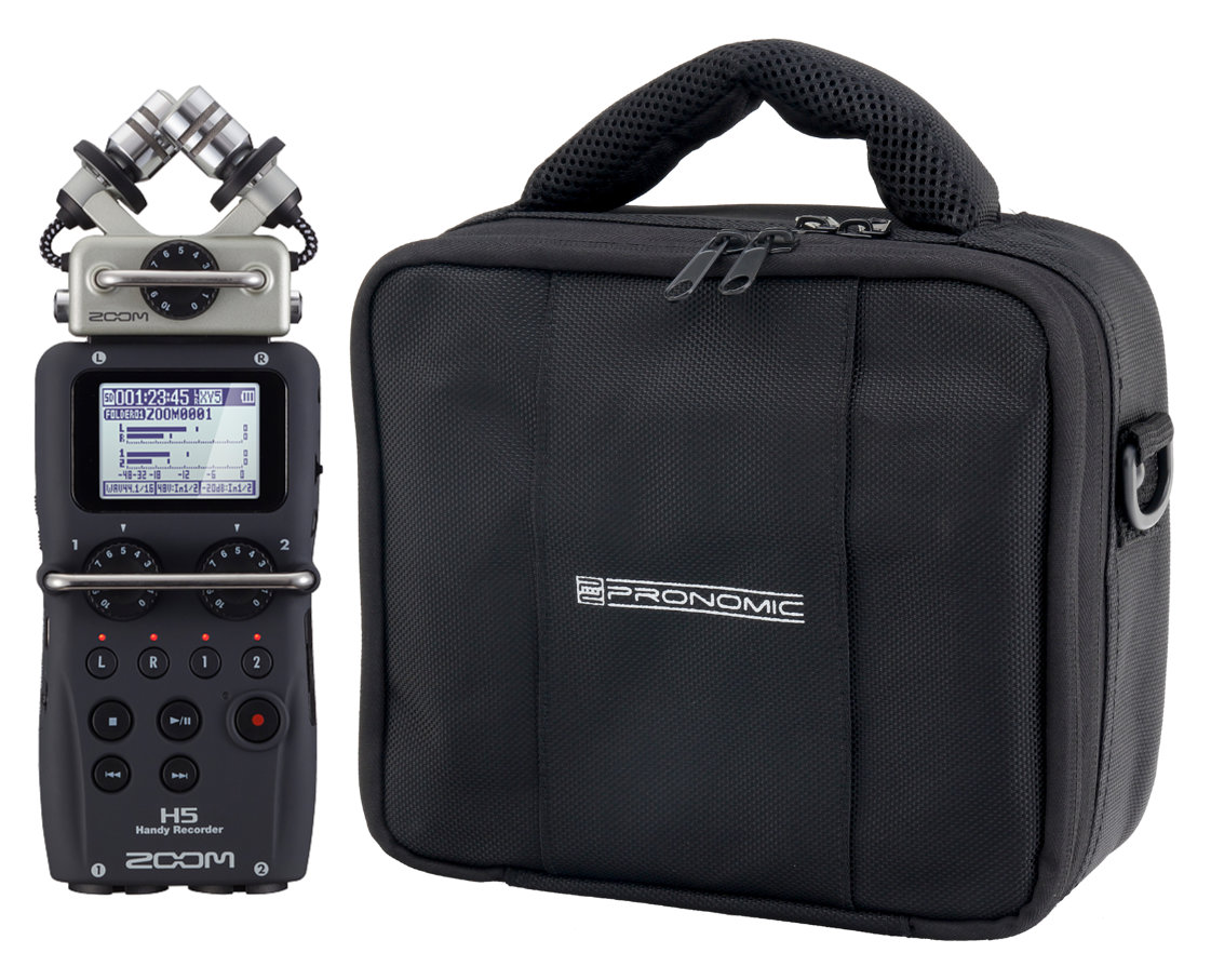 Zoom H5 portabler Audio-Recorder mit Wechselmikrofon-System + RB-Flex Recorder-Tasche