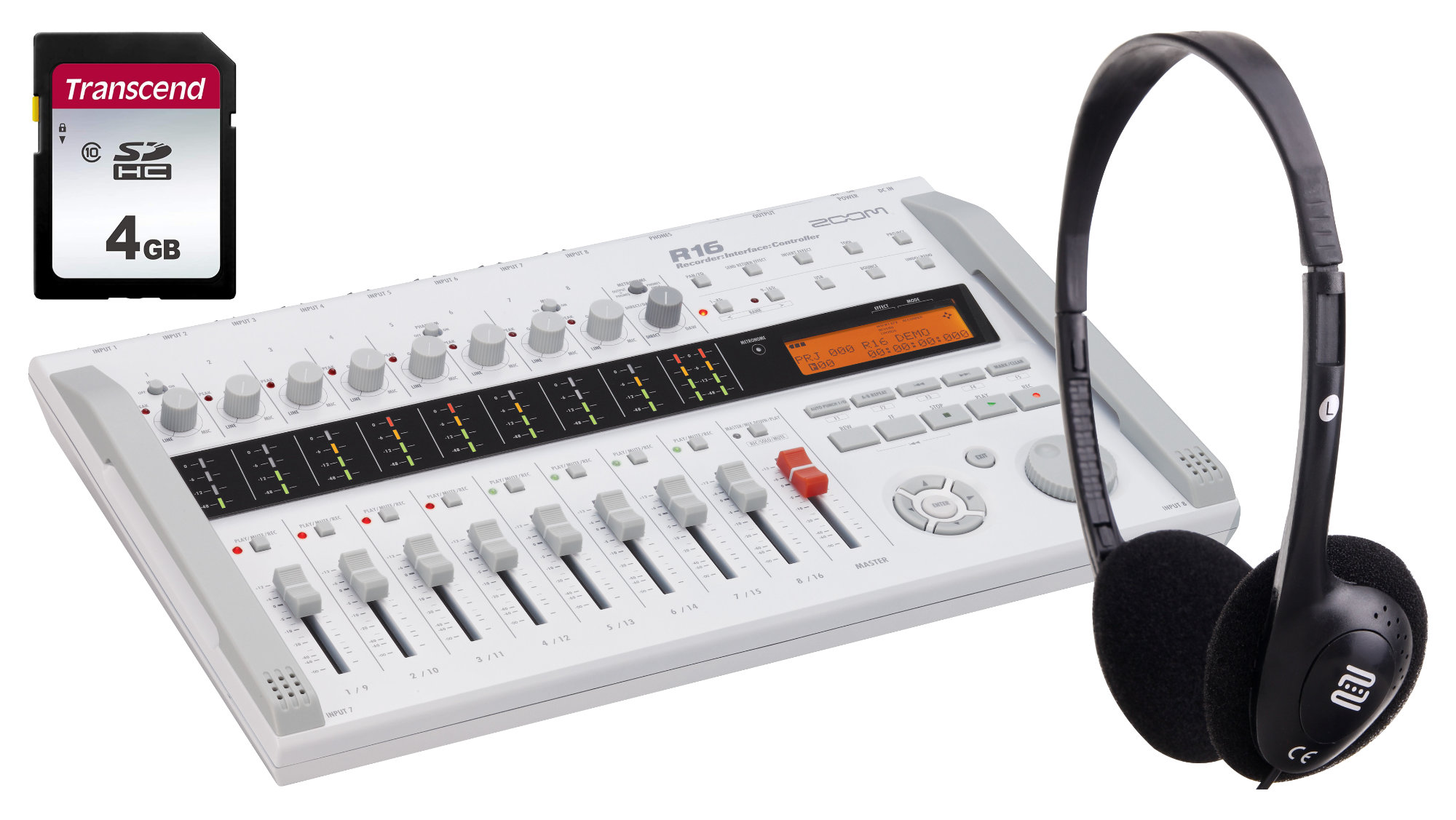 Zoom R16 Digital-Recorder 16 Spuren Set mit Kopfhörer und SD-Card