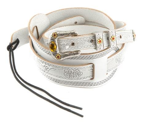 Zubehoergitarren - Gretsch Strap Tooled Vintage Leather White - Onlineshop Musikhaus Kirstein