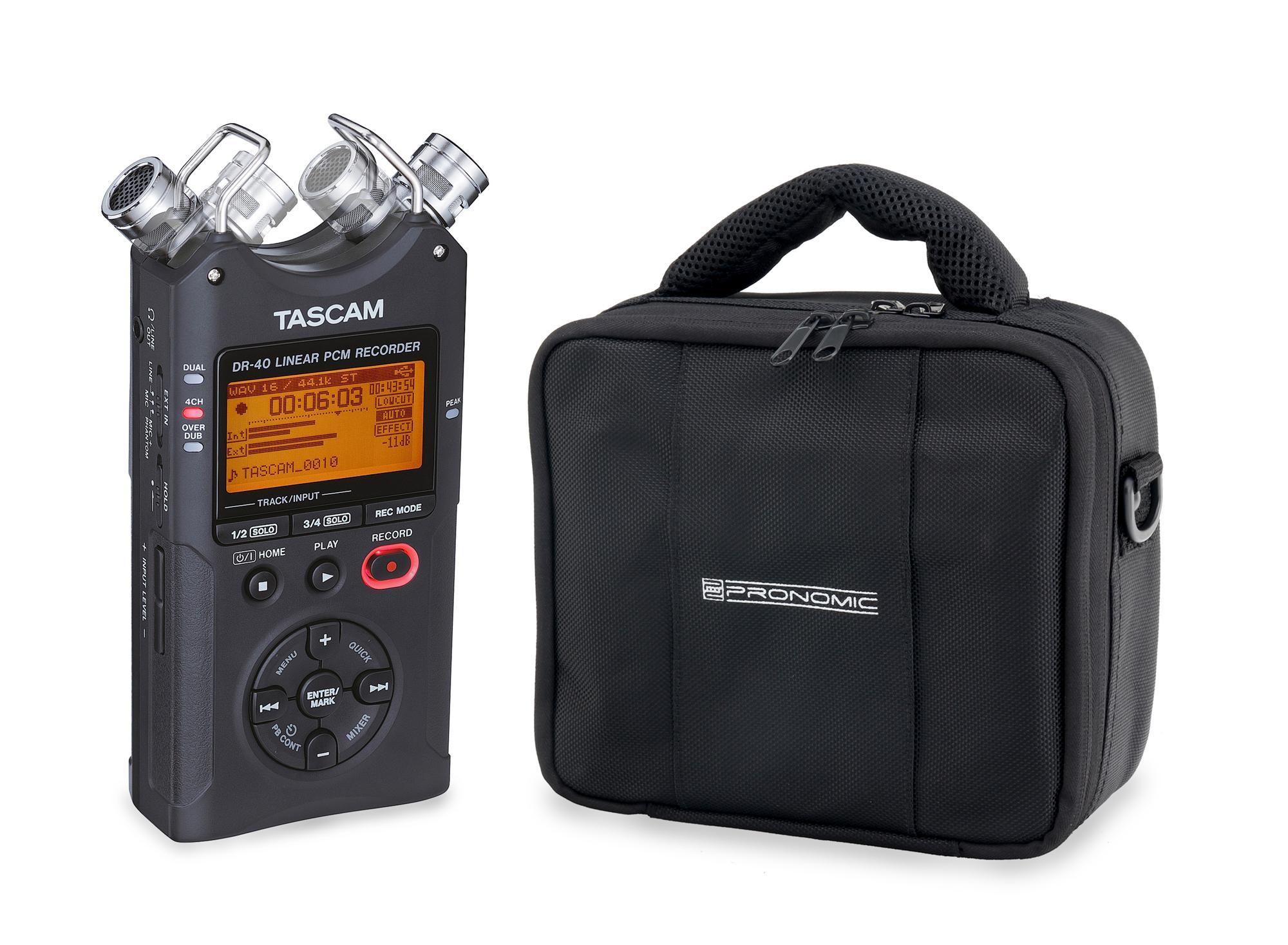 Tascam DR 40 PCM|MP3 Recorder inkl. Pronomic Tasche im SET