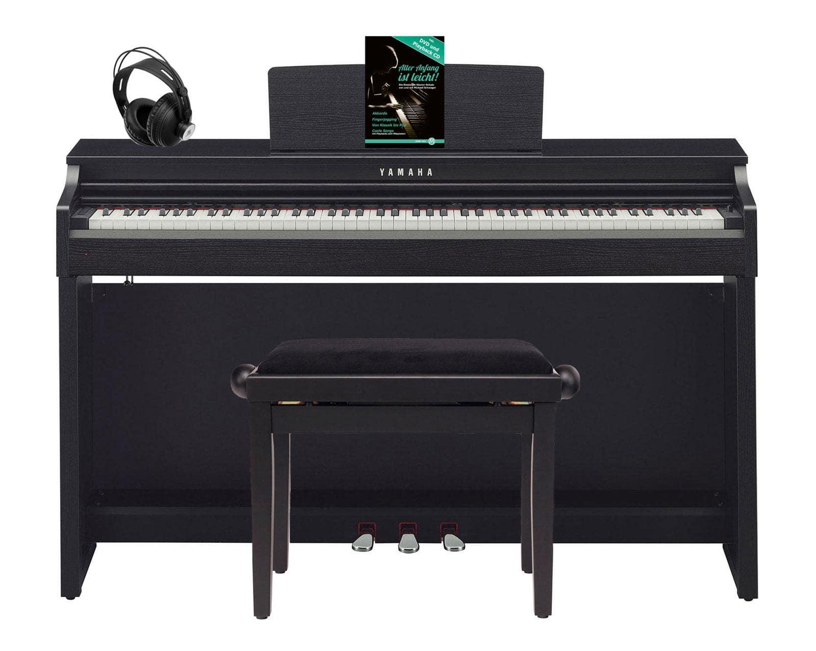 Yamaha CLP 625 B Digitalpiano schwarznuss SET mit Kopfhörer, Bank, Schule
