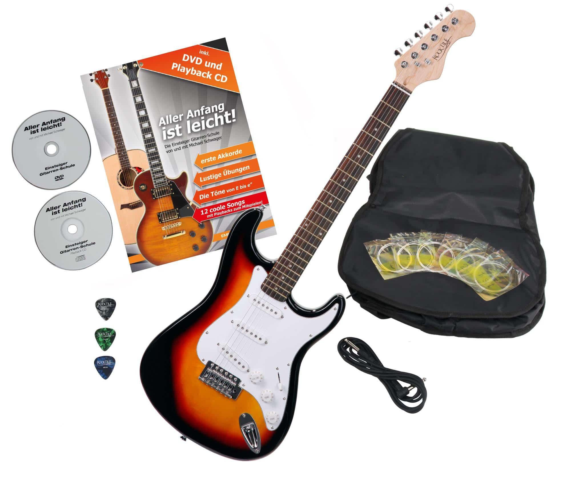 Rocktile Sphere Classic E Gitarre Sunburst mit Zubehör Set