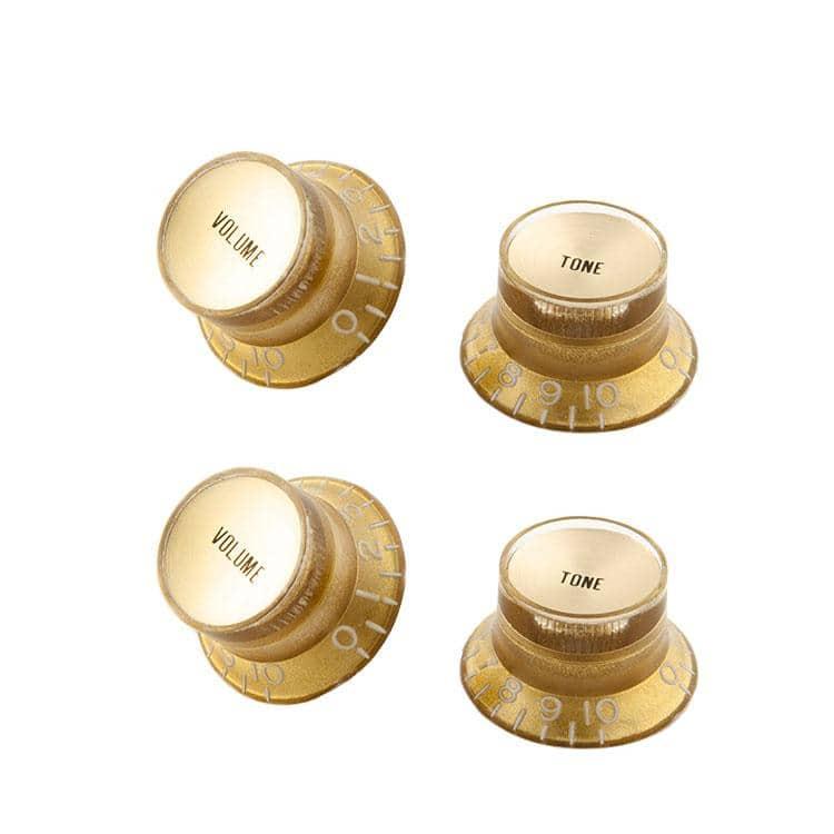 Zubehoergitarren - Gibson Top Hat Knobs Gold w| Gold Insert 4 pc. - Onlineshop Musikhaus Kirstein