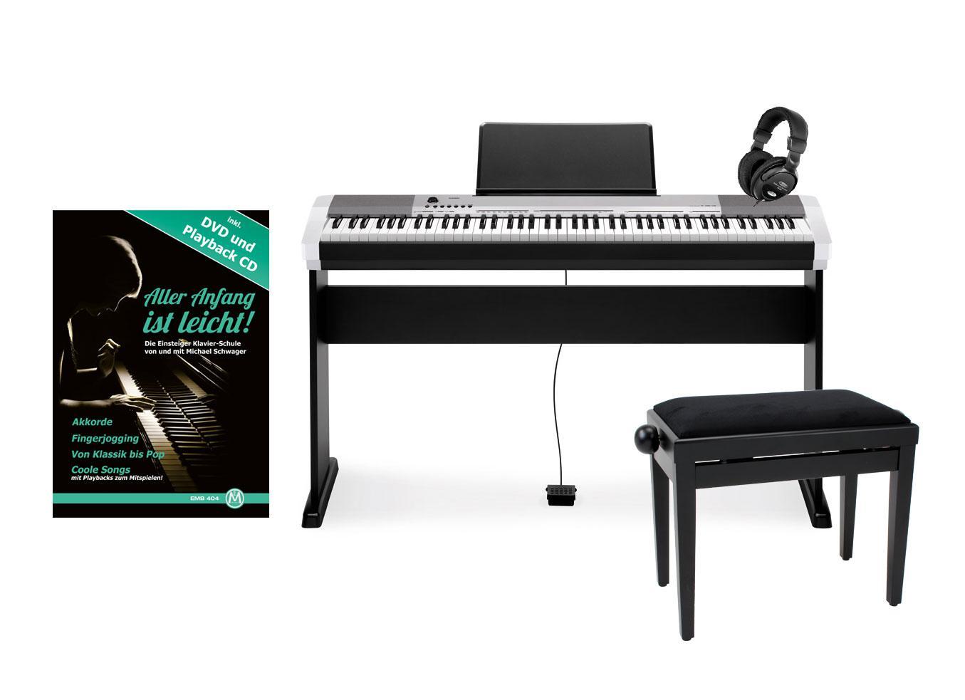 Casio CDP 130 SR Compact E Piano silber schwarz Deluxe SET mit Holzständer, Bank, Kopfhörer und Schule