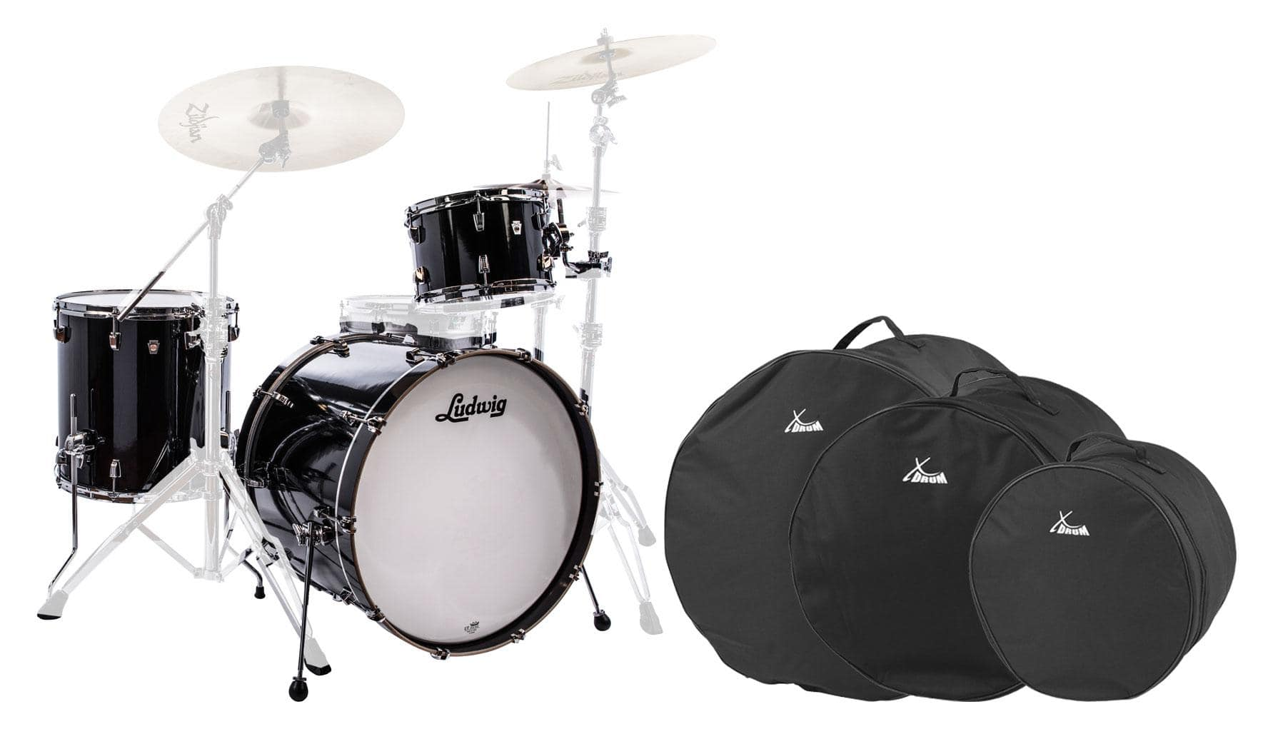 Ludwig L26223TXCG NeuSonic Shellset Black Cortex Set inkl. Drum Bags
