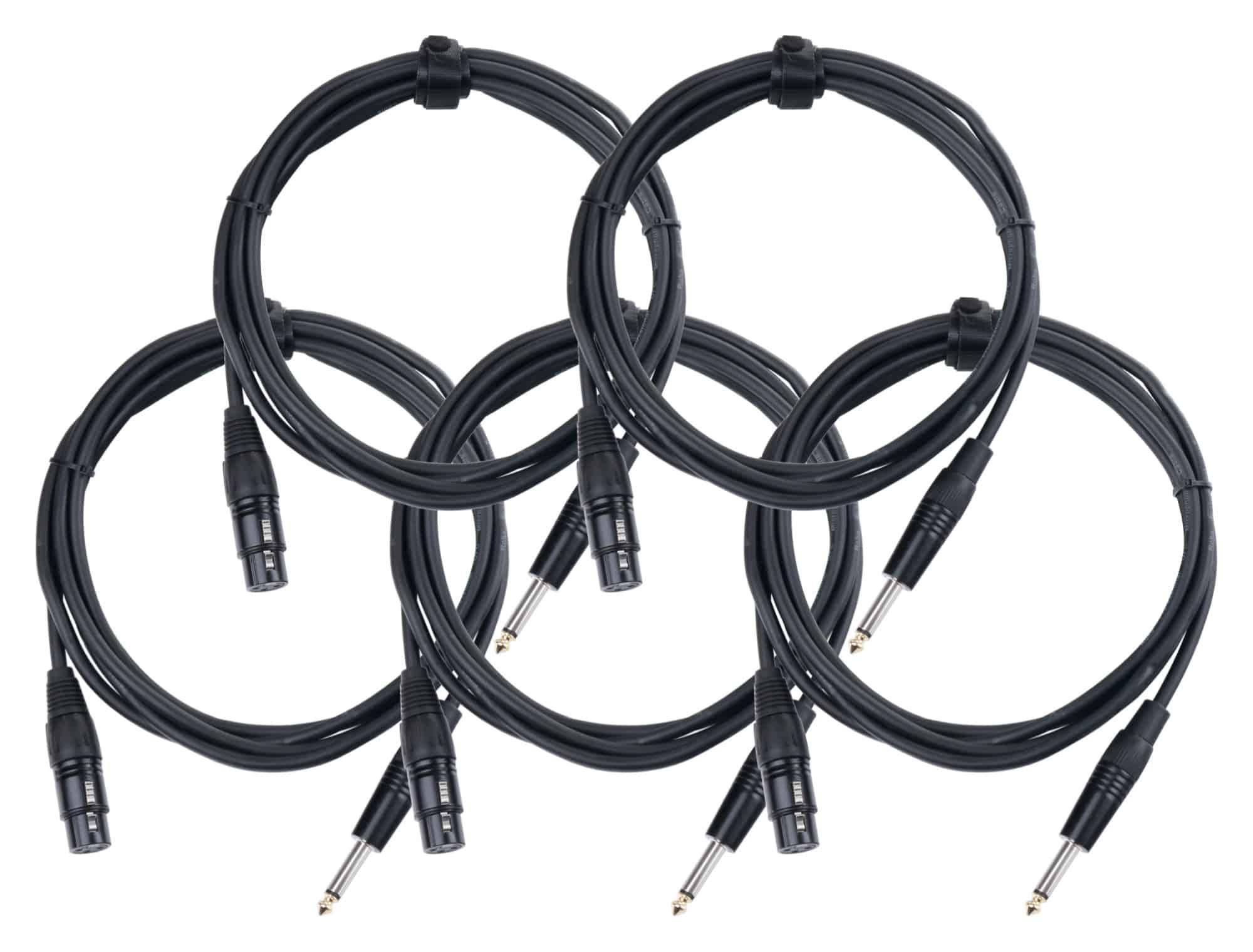 5er Set Pronomic Stage XFJ 2.5 Mikrofonkabel XLR|Klinke 2,5 m Schwarz