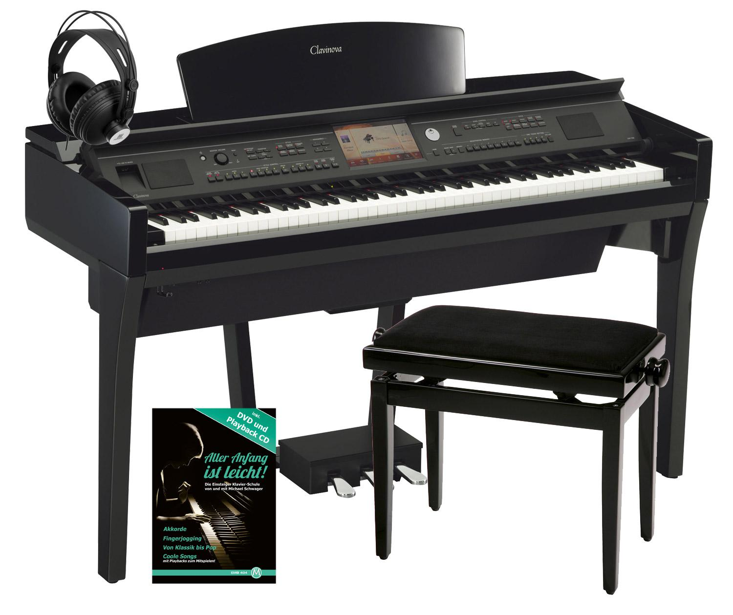 yamaha cvp 709 pe clavinova digitalpiano schwarz hochglanz set inkl bank kopfh rer. Black Bedroom Furniture Sets. Home Design Ideas