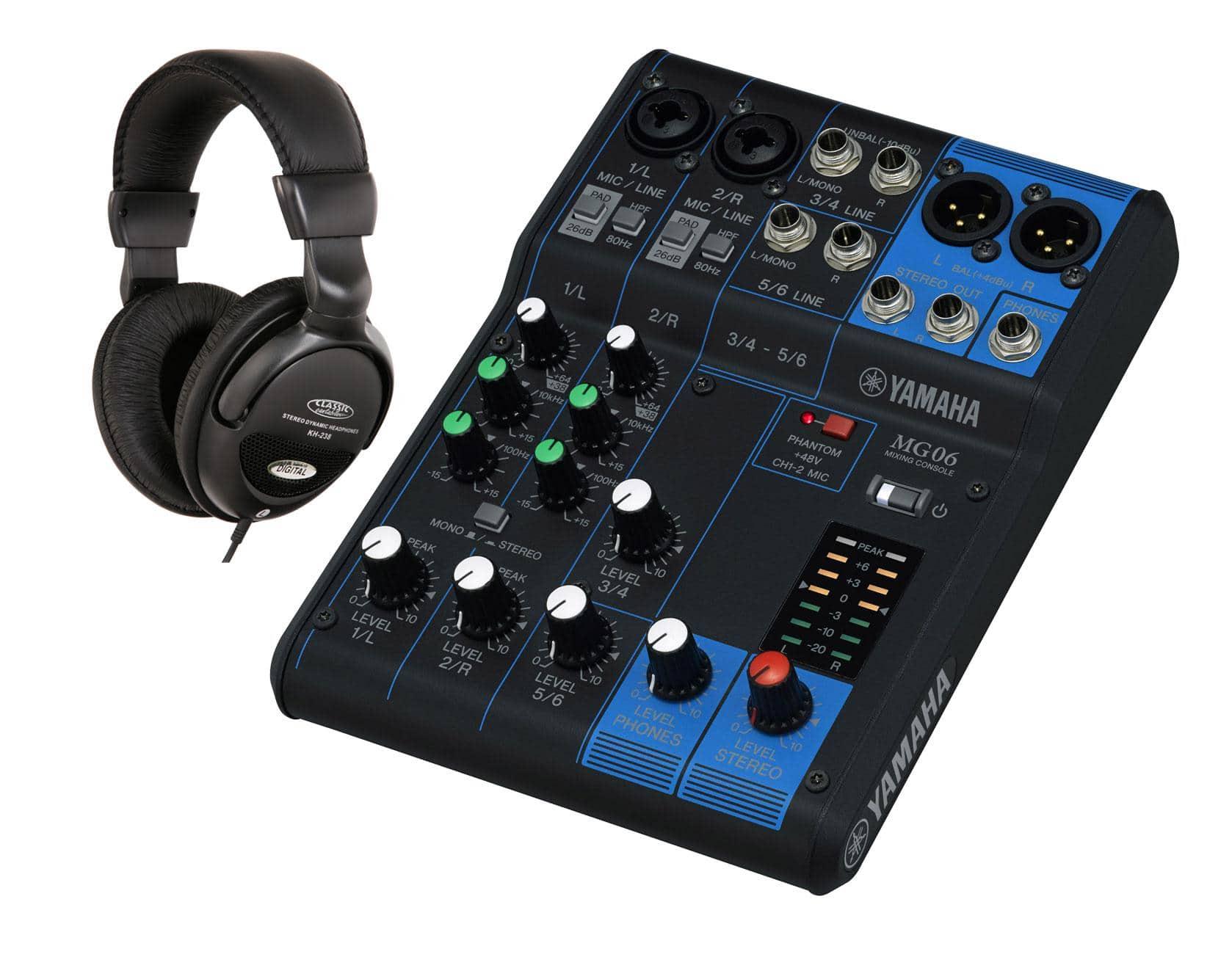 Mischpulte - Yamaha MG06 Mischpult SET mit Kopfhörer - Onlineshop Musikhaus Kirstein