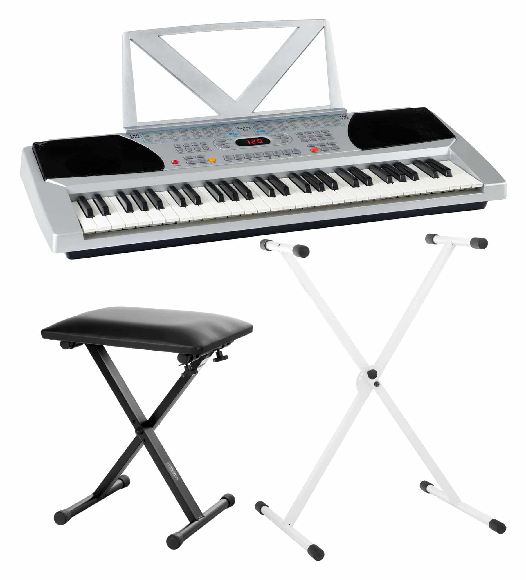 Funkey 54 set incl keyboard keyboard stand silver bench Keyboard stand and bench