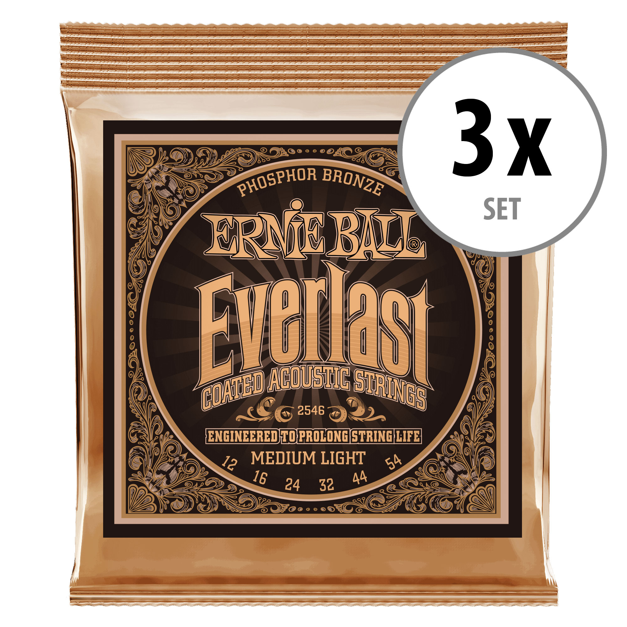 3er Set Ernie Ball 2546 Everlast Coated Phosphor Bronze Medium Light