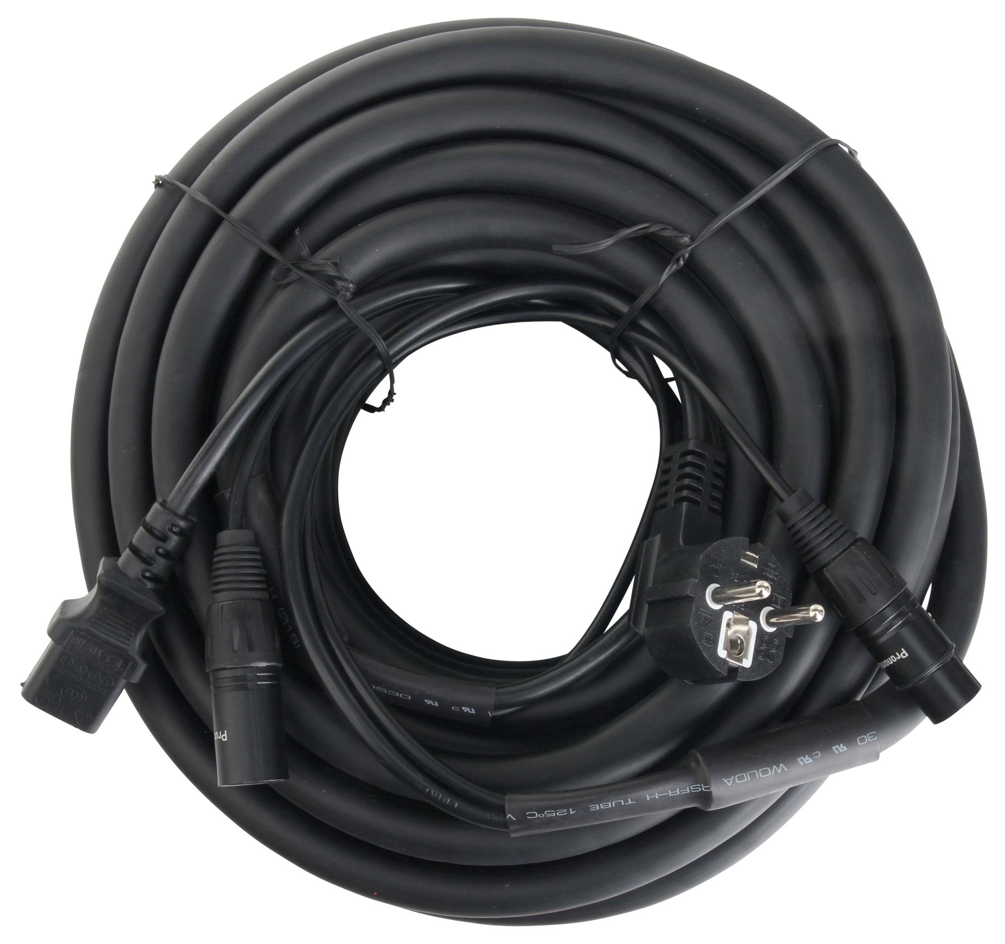 Kabelmulticores - Pronomic Stage EUIECX 15 Hybridkabel Schukostecker auf Kaltgerätebuchse, XLR|XLR 15m - Onlineshop Musikhaus Kirstein
