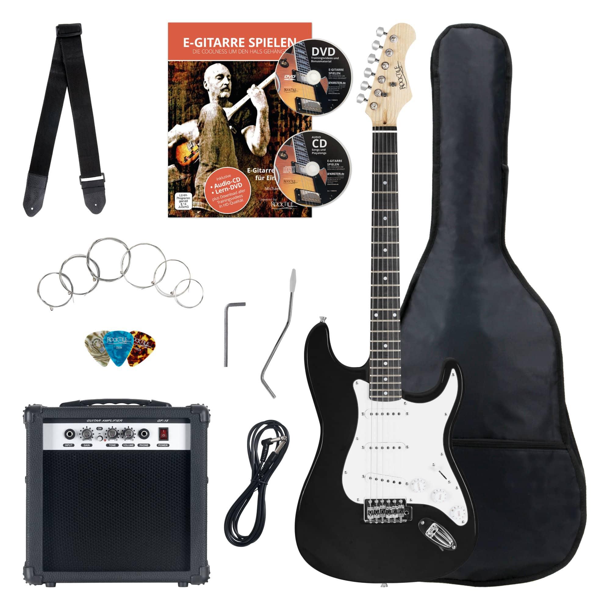 Egitarren - Rocktile Banger's Pack E Gitarren Set, 8 teilig Black Retoure (Zustand gut) - Onlineshop Musikhaus Kirstein