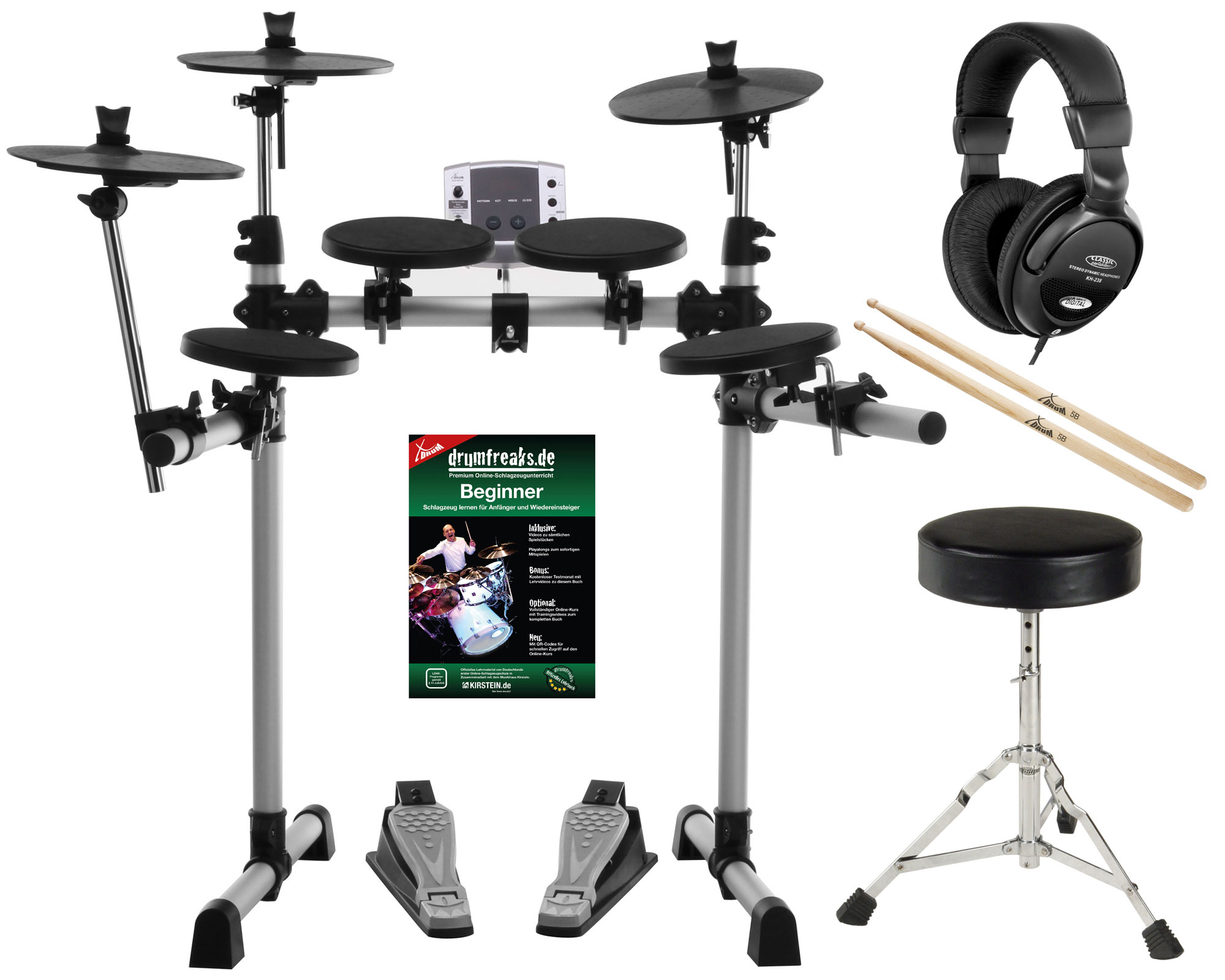 xdrum dd 400 electronic drum set complete with headphones drum stool and sticks. Black Bedroom Furniture Sets. Home Design Ideas
