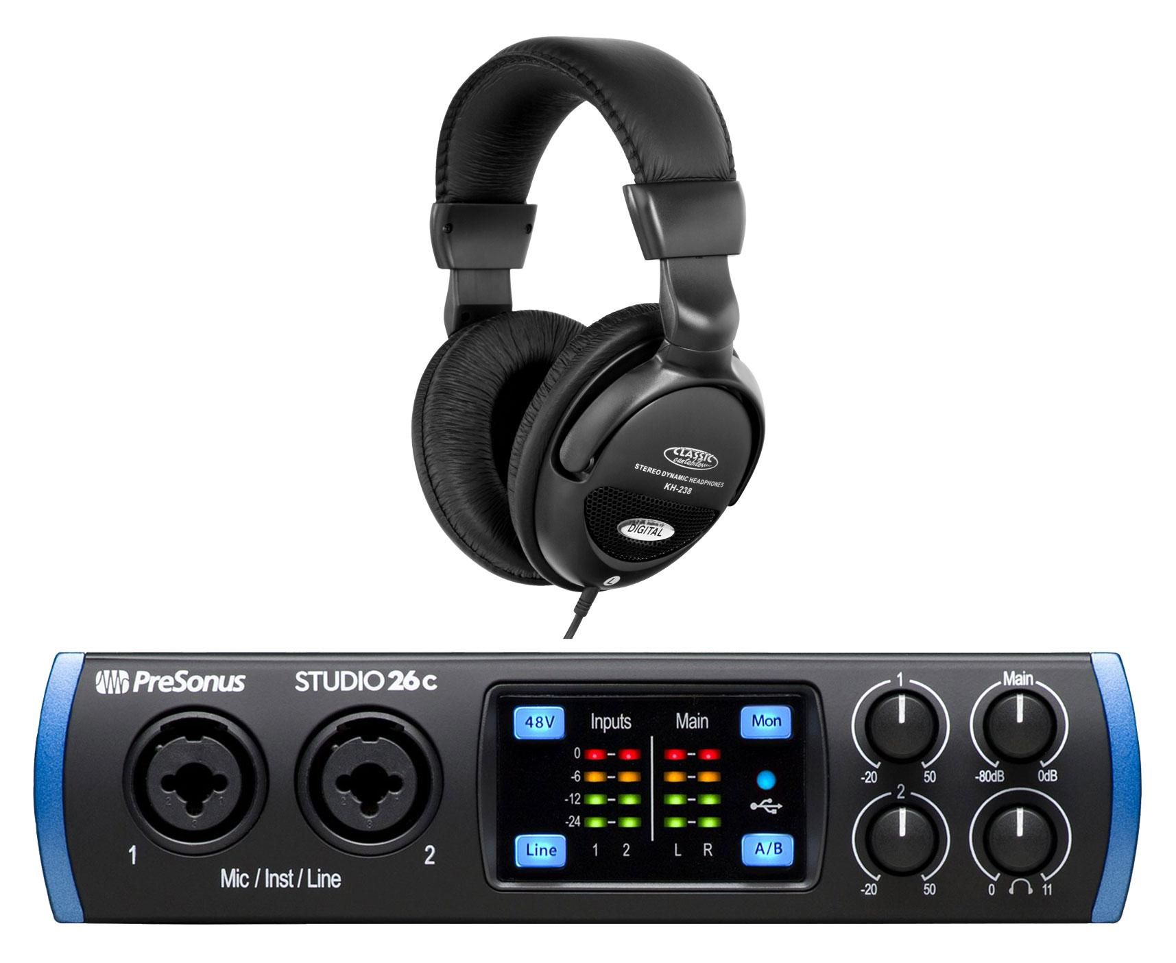 PreSonus Studio 26c USB C Audio Interface Set