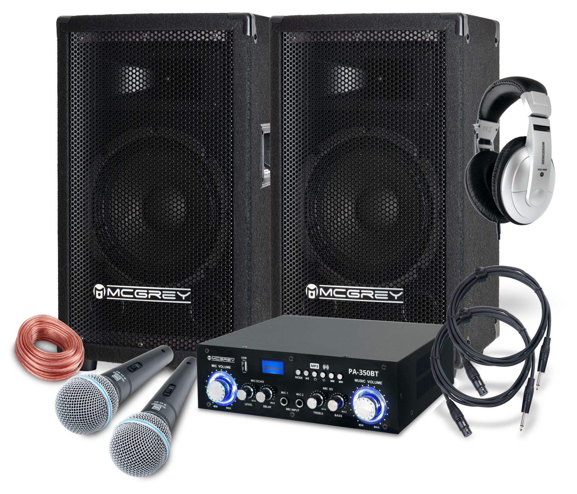 McGrey DJ Karaoke Komplettset Party 1000 600W