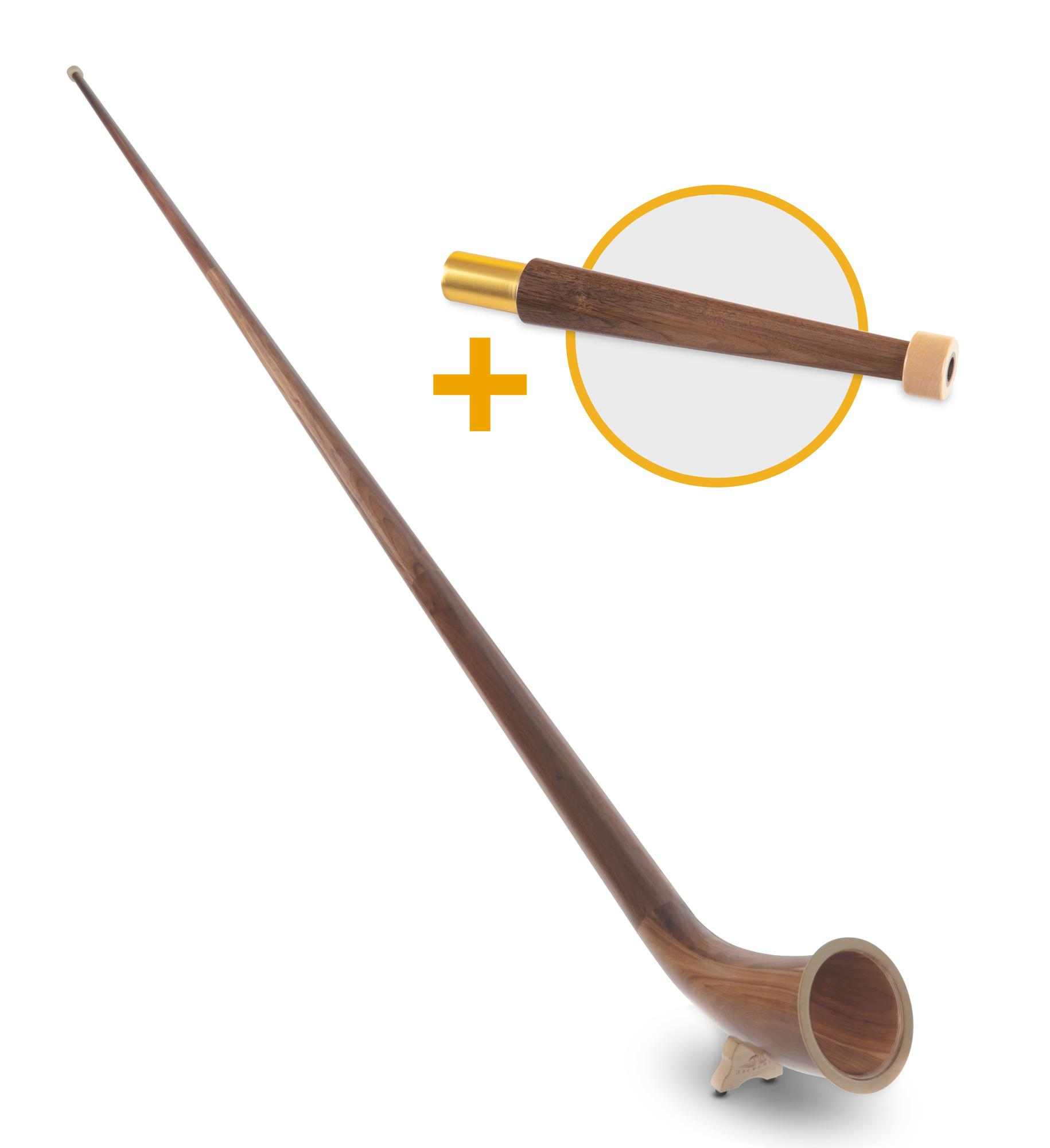Hoerner - Lechgold Alphorn Nuss F 360 cm 3 teilig Set inkl. Bb Handrohr - Onlineshop Musikhaus Kirstein