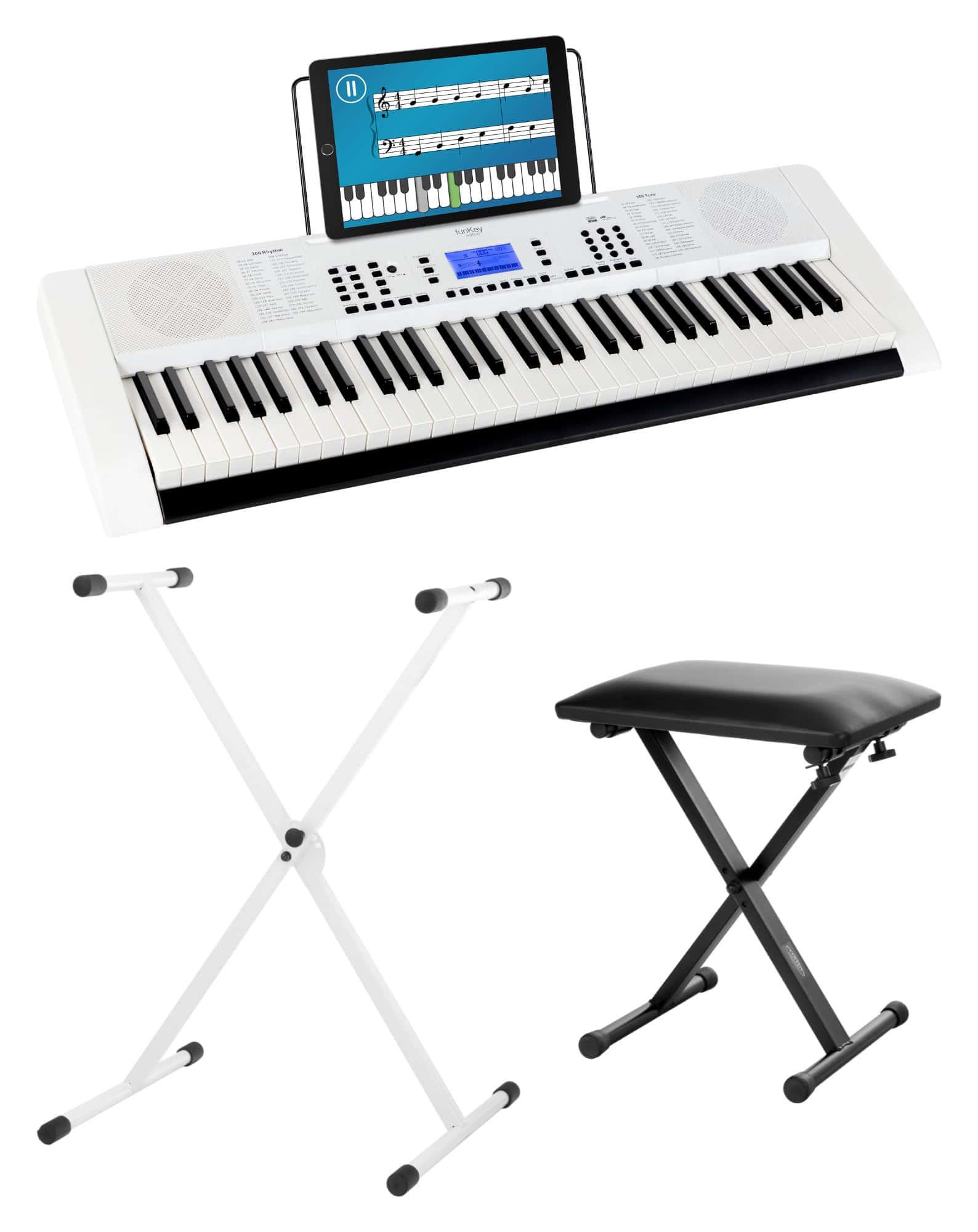 Homekeyboards - FunKey 61 Edition Pro Weiß SET inkl. Keyboardständer Bank - Onlineshop Musikhaus Kirstein